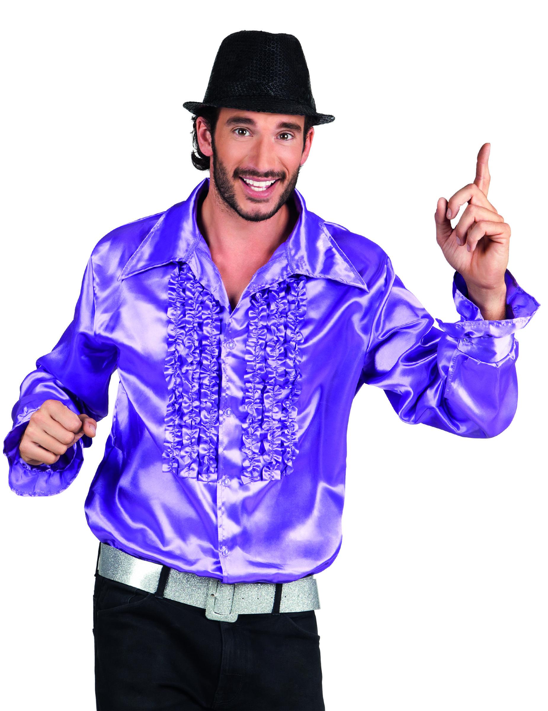 chemise disco violette homme d coration anniversaire et. Black Bedroom Furniture Sets. Home Design Ideas