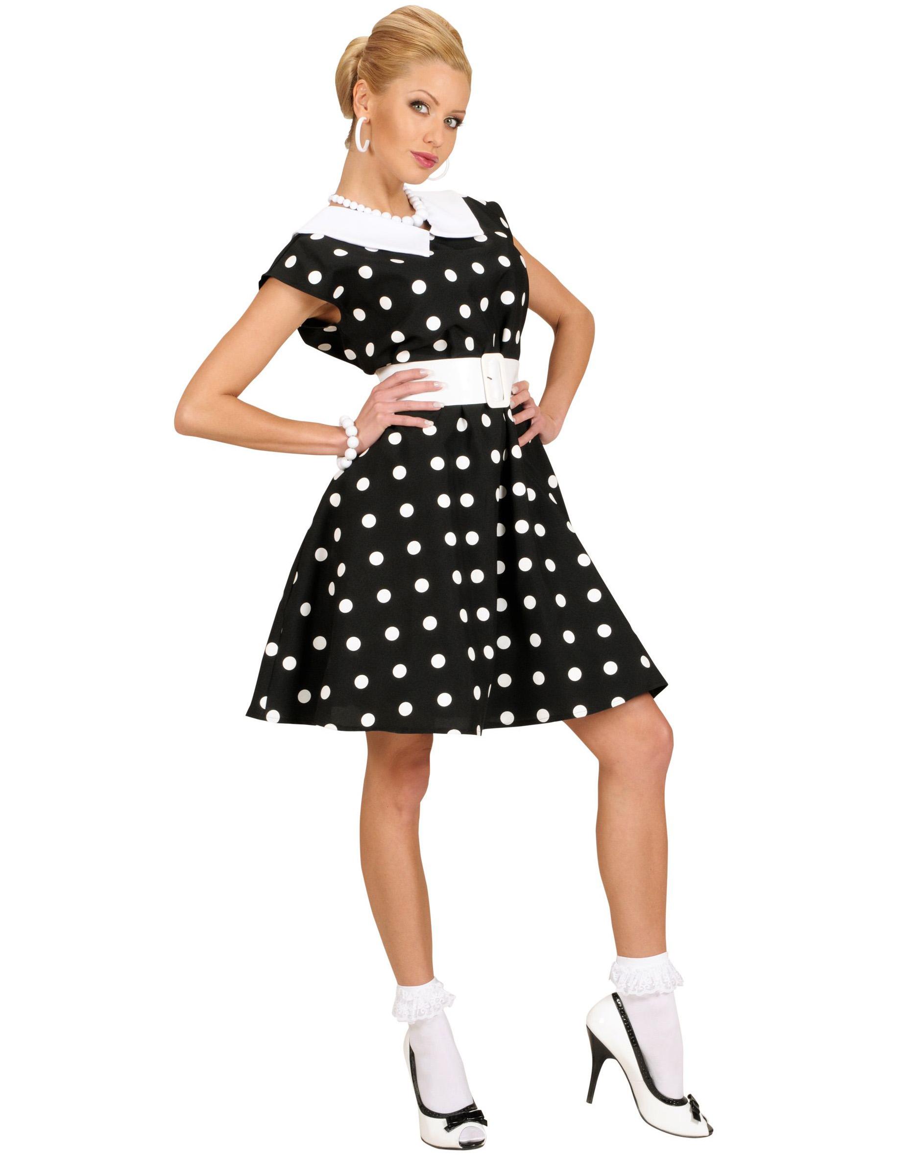 D guisement robe noire pois ann es 50 femme d coration anniversaire et f tes th me sur - Tenue des annees 50 ...