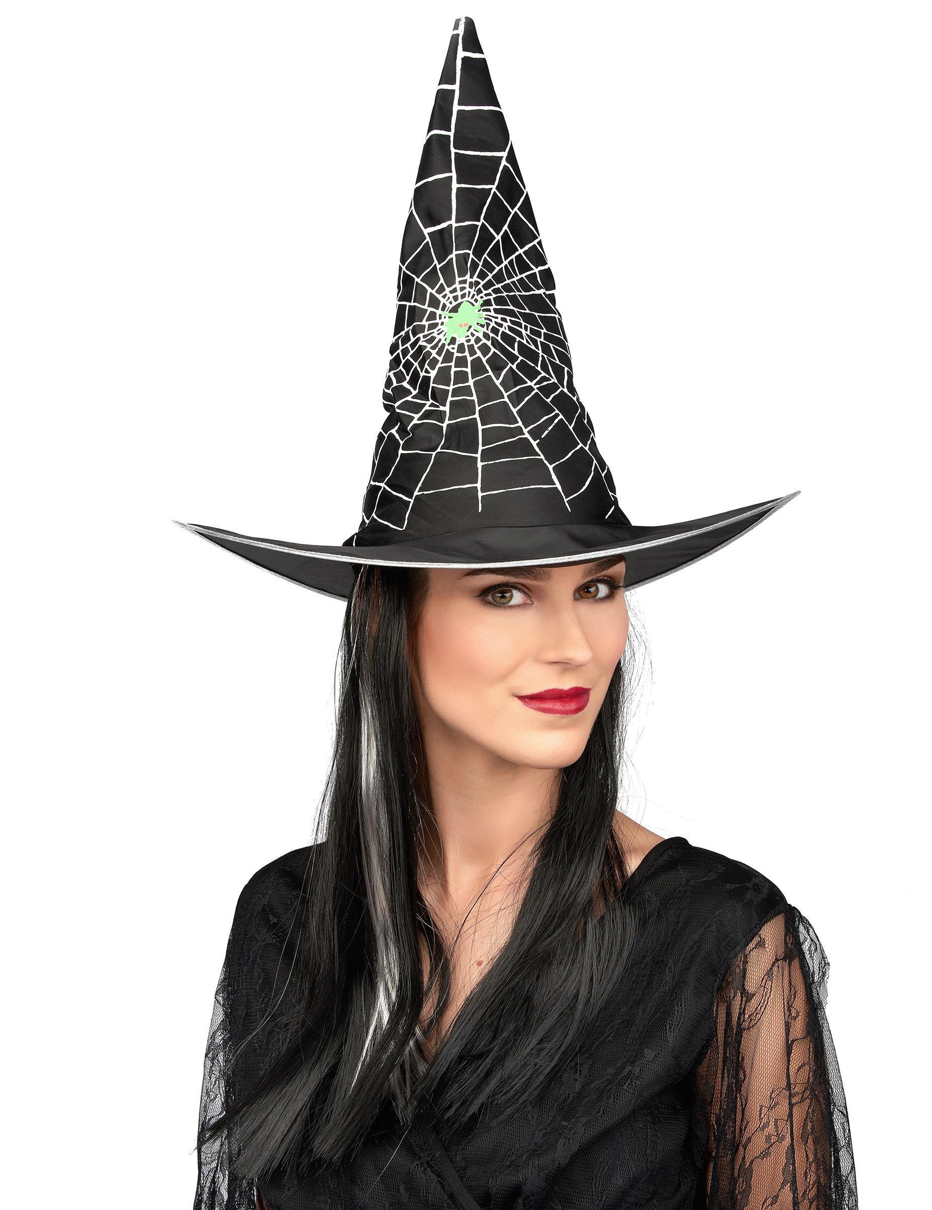 Chapeau avec perruque sorcière noir et blanc femme ...