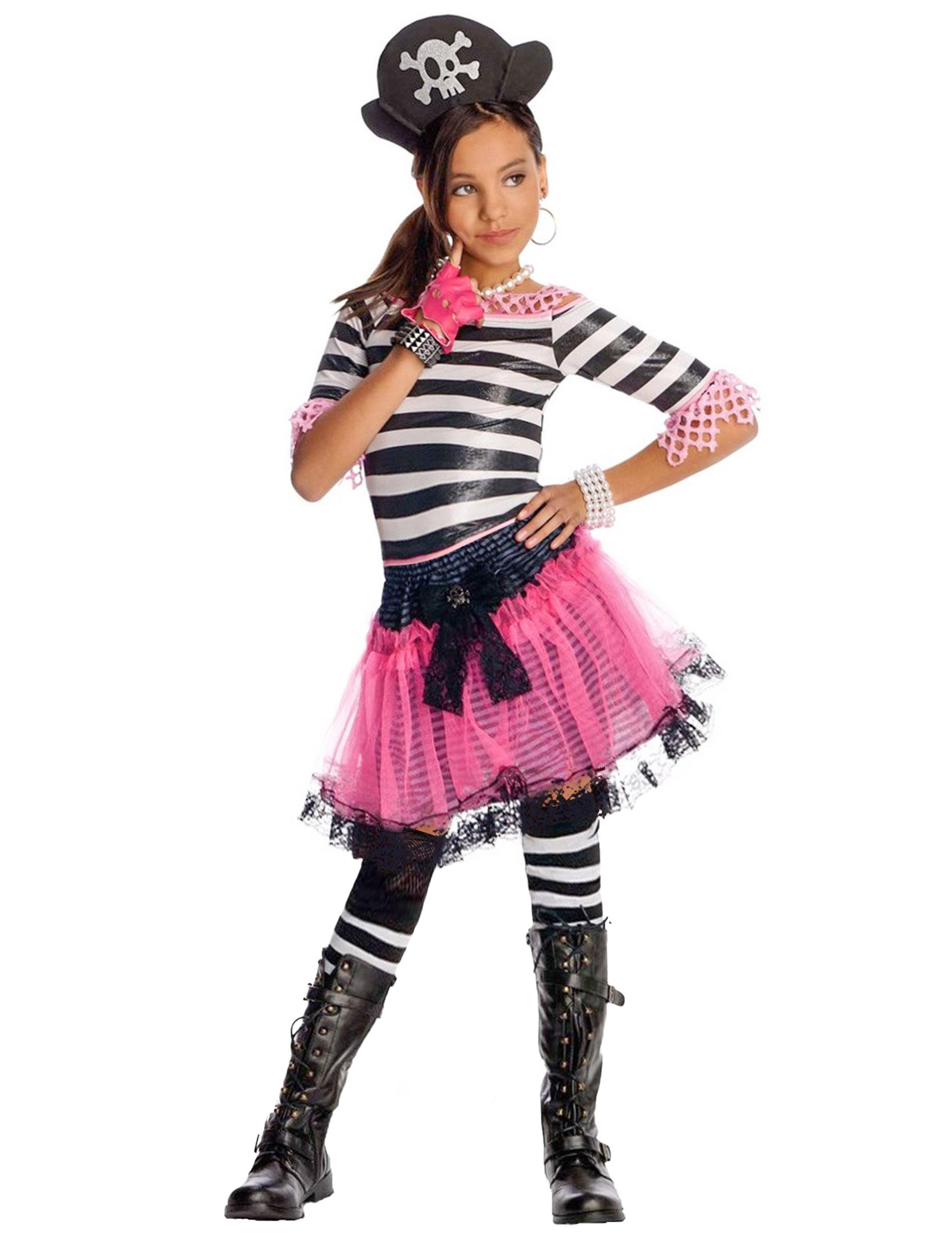 aed71d395f3 Déguisement Pirate gothique Noir Rose enfant pour fille