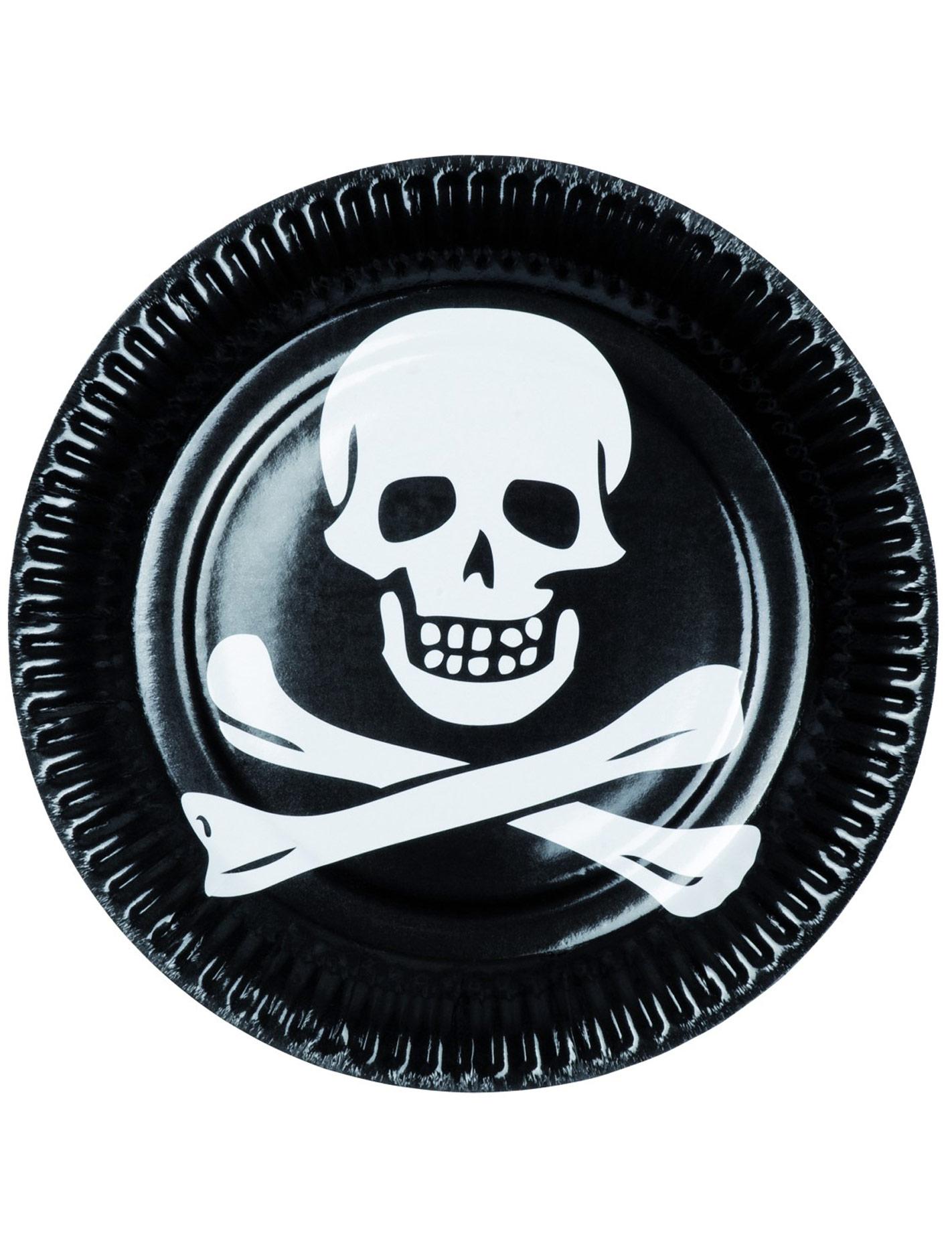 6 assiettes pirates noir et blanc d coration anniversaire et f tes th me sur vegaoo party. Black Bedroom Furniture Sets. Home Design Ideas