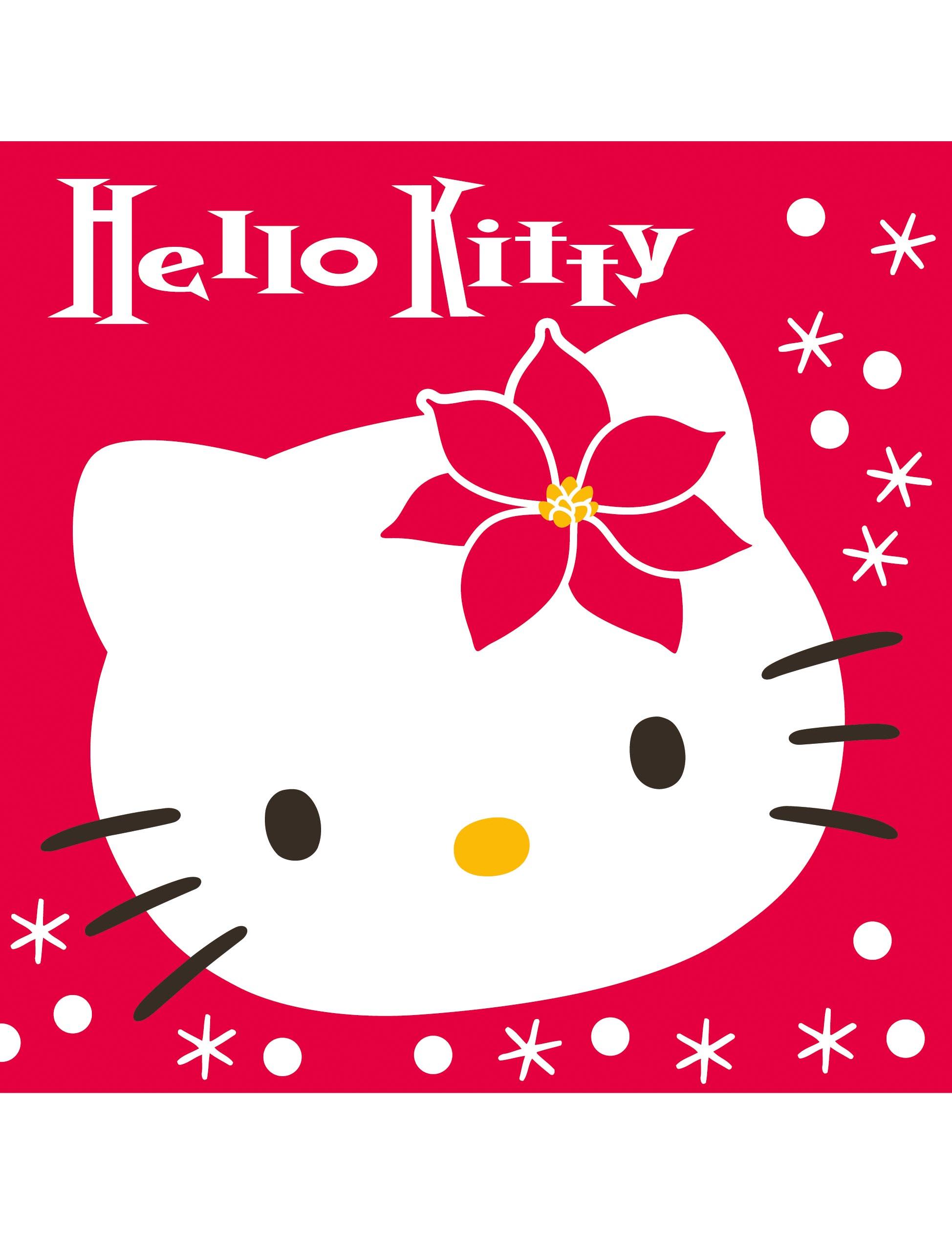 20 serviettes en papier hello kitty no l 40 x 40 cm d coration anniversaire et f tes th me. Black Bedroom Furniture Sets. Home Design Ideas