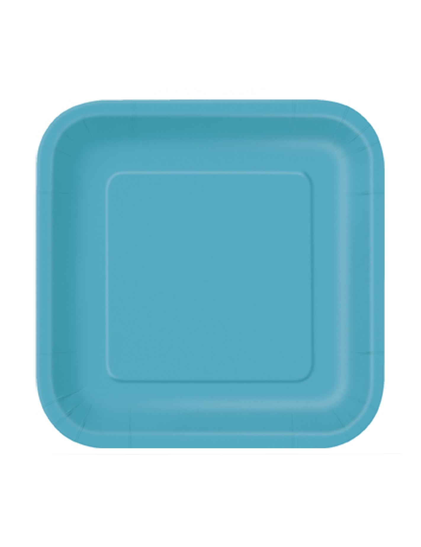 16 Petites Assiettes Bleu Cara Be Carr Es En Carton 18 Cm