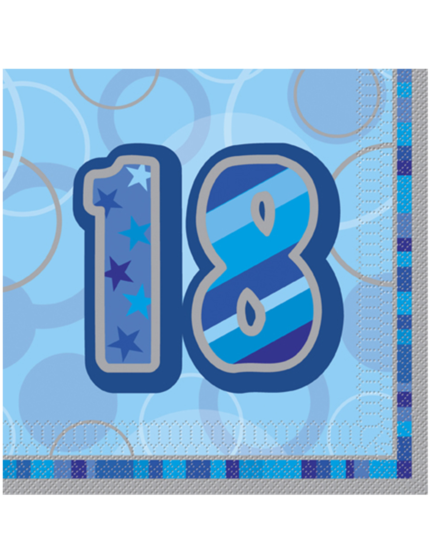 16 serviettes en papier age 18 ans bleues 33 x 33 cm d coration anniversaire et f tes th me. Black Bedroom Furniture Sets. Home Design Ideas