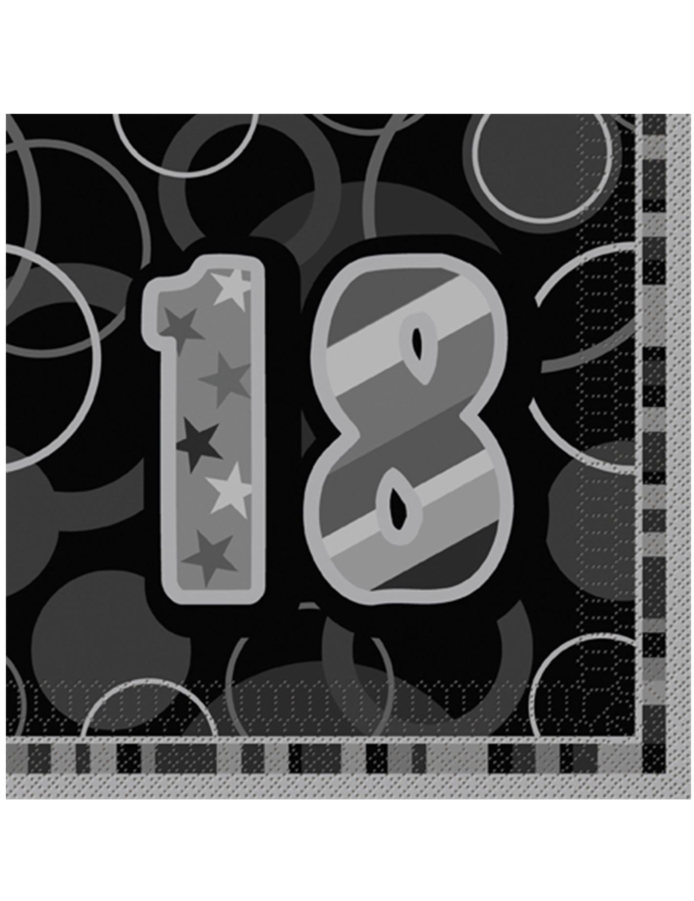 16 serviettes en papier age 18 ans grises 33 x 33 cm d coration anniversaire et f tes th me. Black Bedroom Furniture Sets. Home Design Ideas