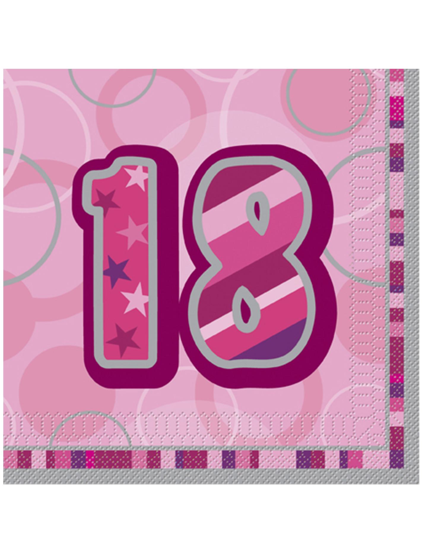 16 serviettes en papier age 18 ans roses 33 x 33 cm d coration anniversaire et f tes th me. Black Bedroom Furniture Sets. Home Design Ideas