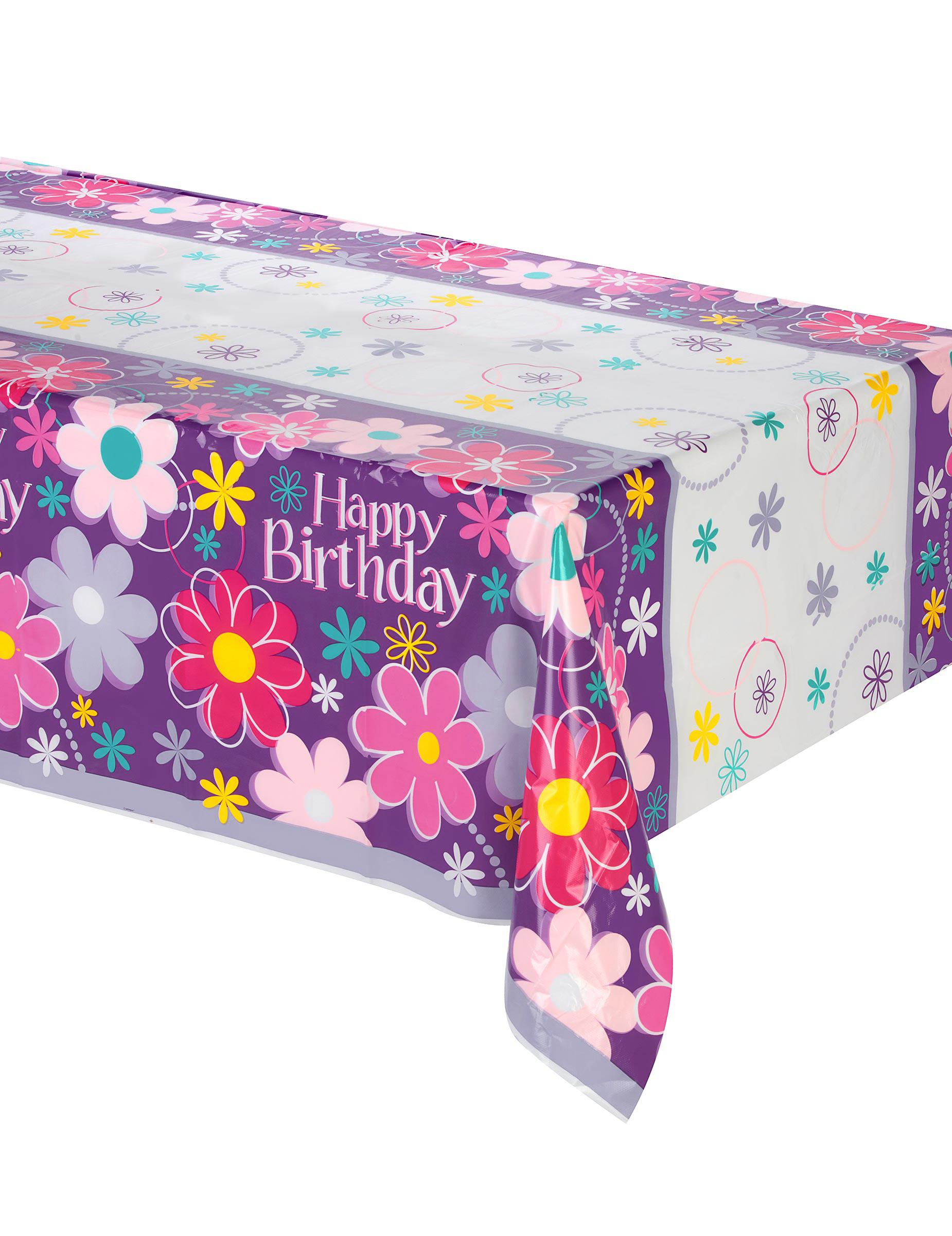 nappe en plastique happy birthday 137 x 274 cm d coration anniversaire et f tes th me sur. Black Bedroom Furniture Sets. Home Design Ideas
