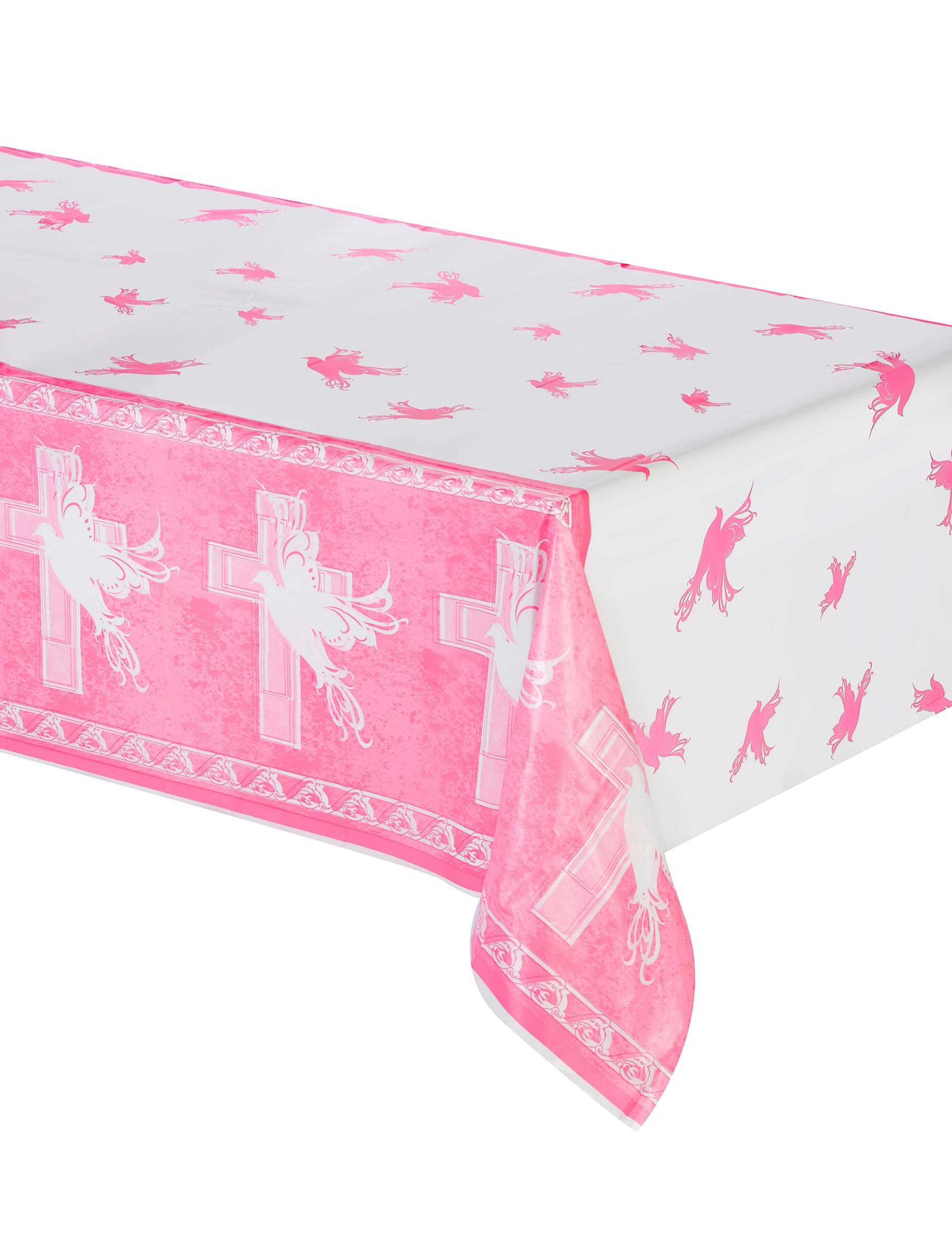 nappe plastique communion rose d coration anniversaire et f tes th me sur vegaoo party. Black Bedroom Furniture Sets. Home Design Ideas