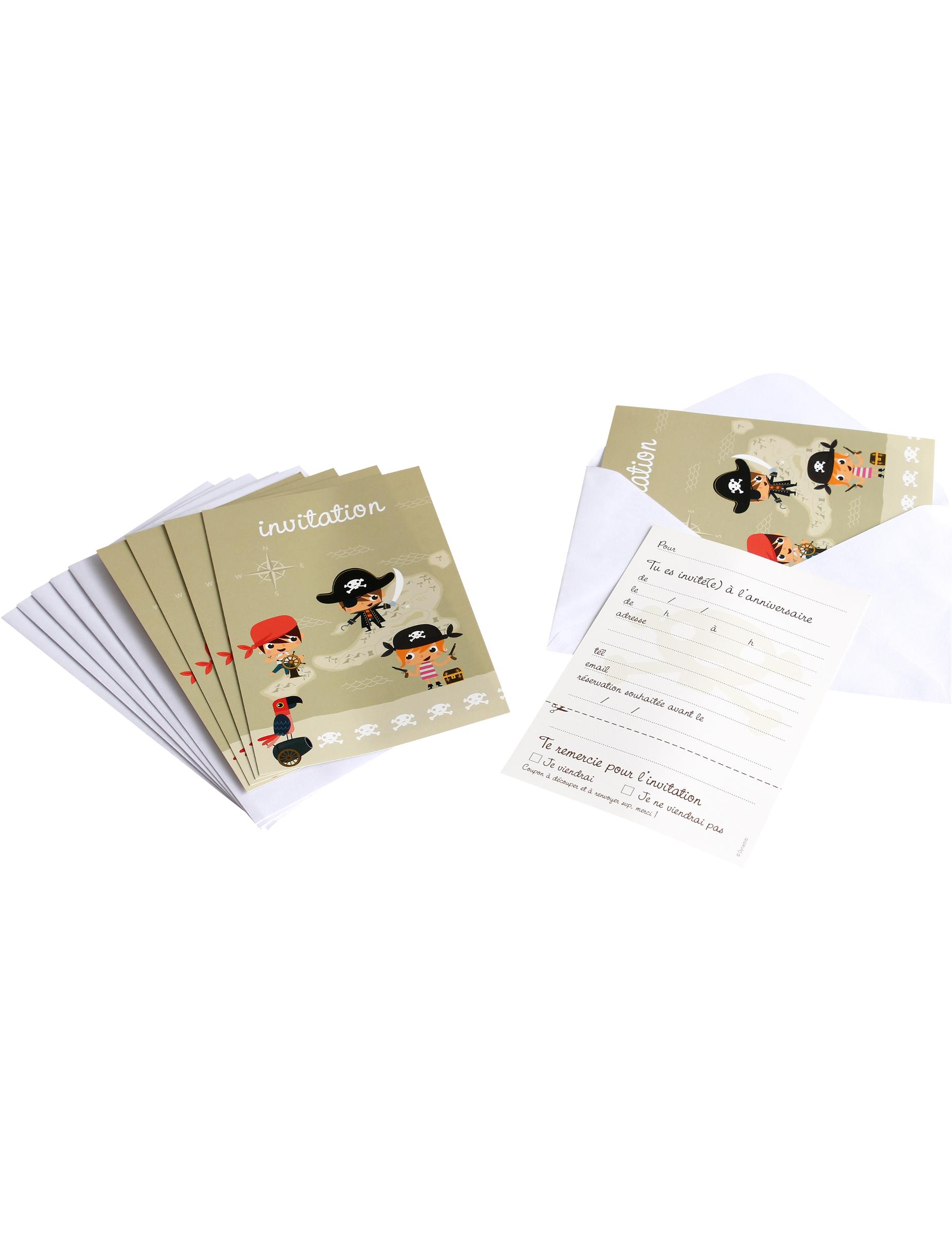 6 cartes d 39 invitation avec enveloppes pirate d coration - Carte d invitation anniversaire garcon ...