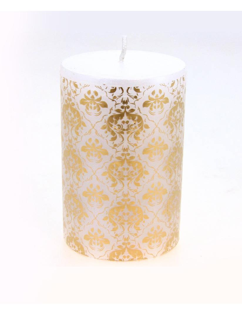 bougie blanche motif baroque 10 cm d coration. Black Bedroom Furniture Sets. Home Design Ideas