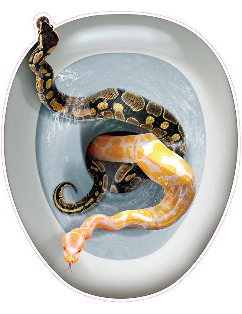 D coration autocollante pour abattant de wc serpents - Abattant wc taille non standard ...