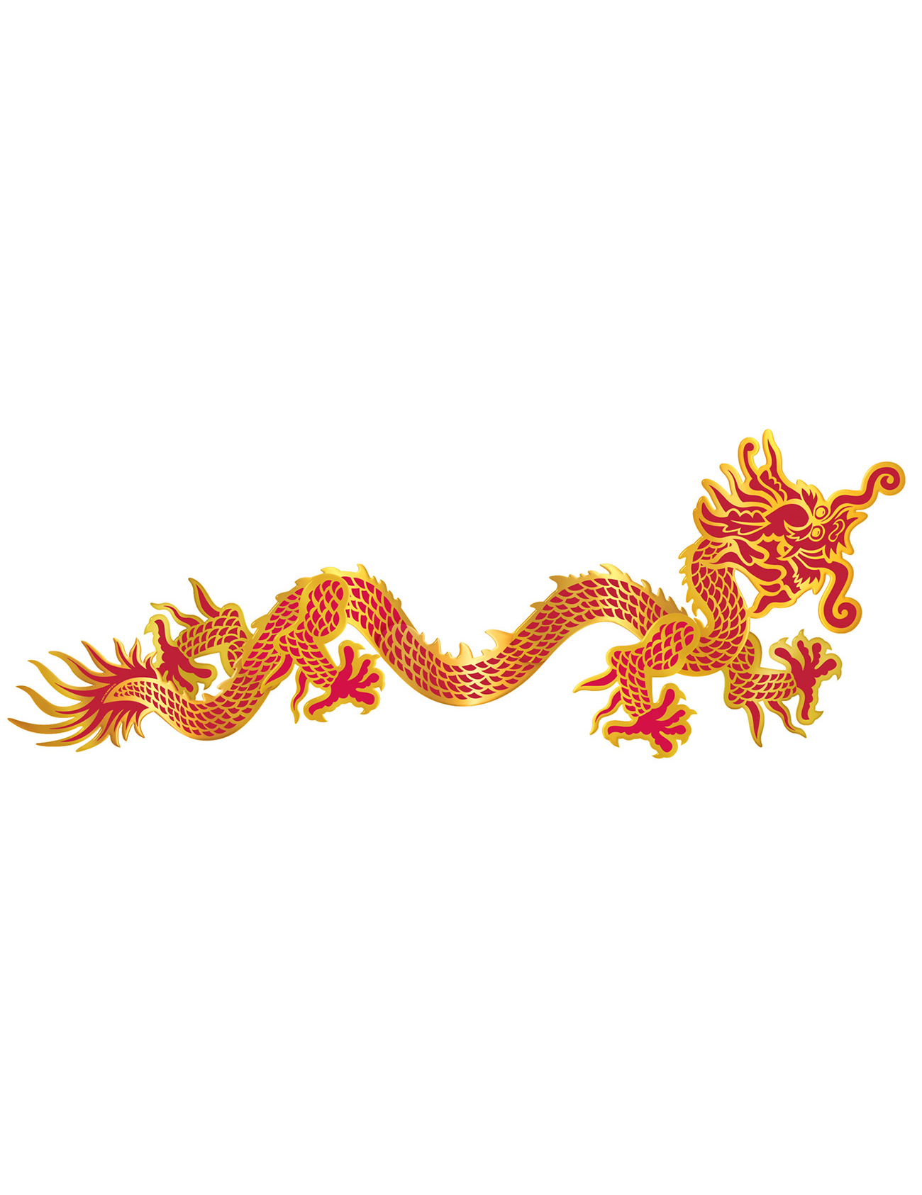 D coration murale dragon rouge et or nouvel an chinois for Decoration gateau nouvel an