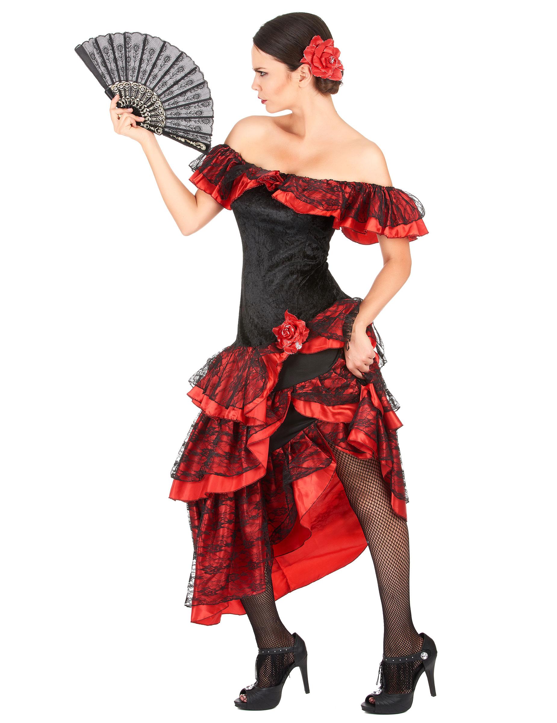 D guisement danseuse de flamenco femme rouge et noir - Danseuse flamenco dessin ...
