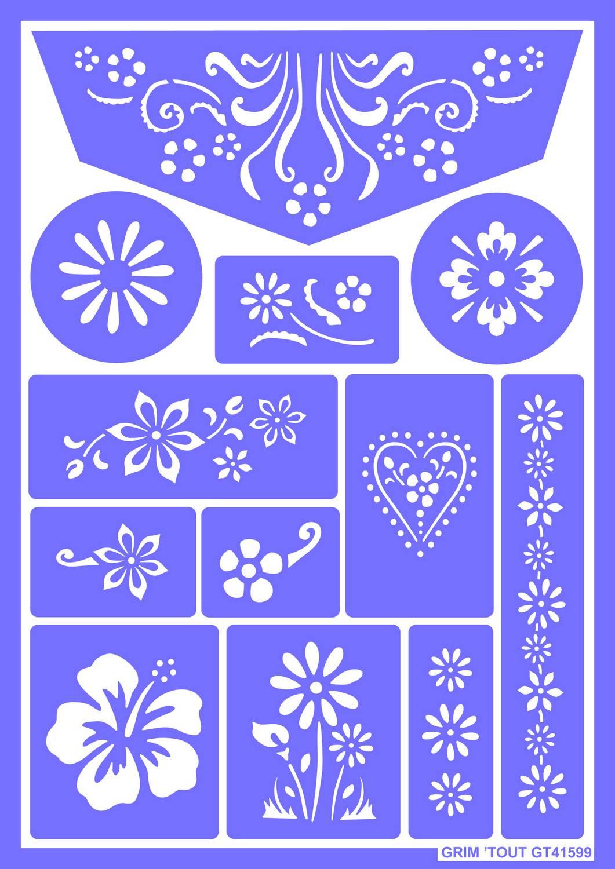 Pochoir r utilisable pour maquillage fleurs grim tout - Plantilla para pintar pared ...