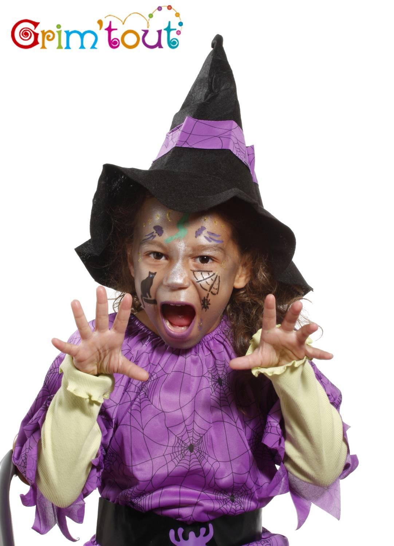 Pochoir de maquillage réutilisable Sorcière et Halloween Grim Tout,1