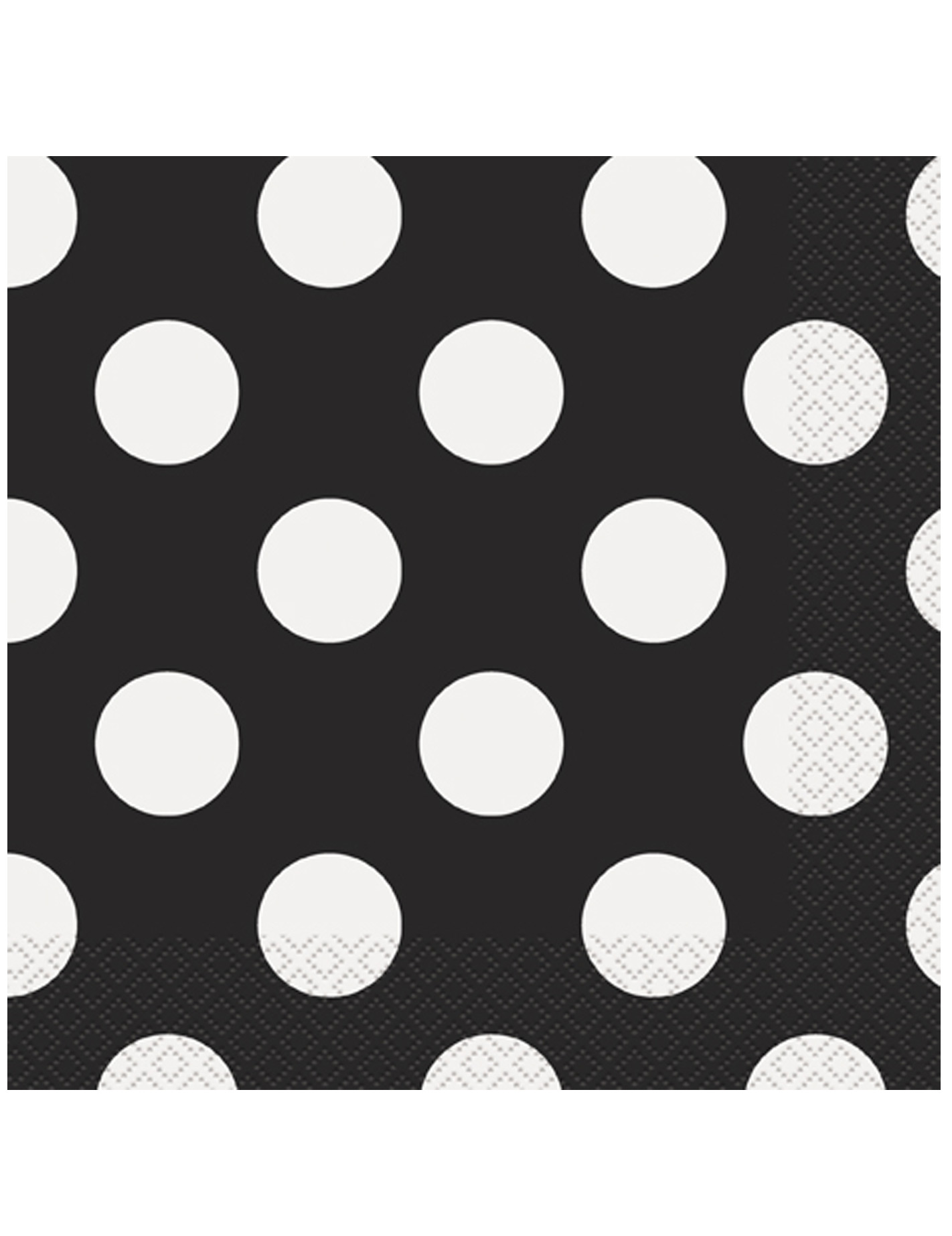 16 Serviettes en papier Noires u00e0 pois blancs 33 x 33 cm ...