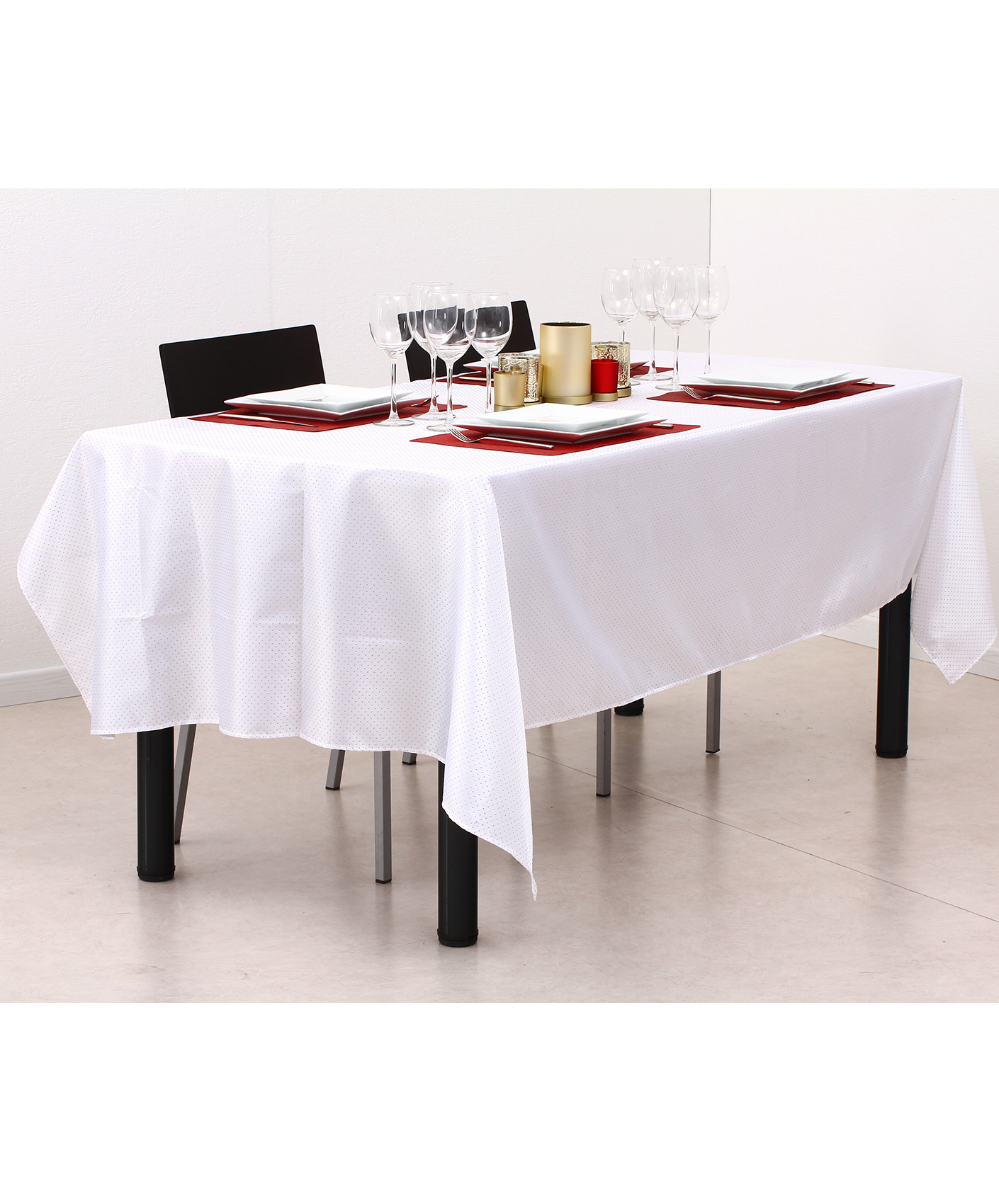 nappe en tissu rectangulaire blanche et or 140 x 240 cm. Black Bedroom Furniture Sets. Home Design Ideas