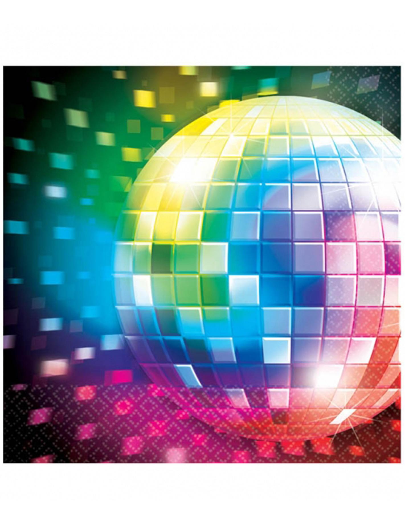 16 serviettes en papier disco boule facettes 33 x 33 cm d coration anniversaire et f tes - Boule a facette ...