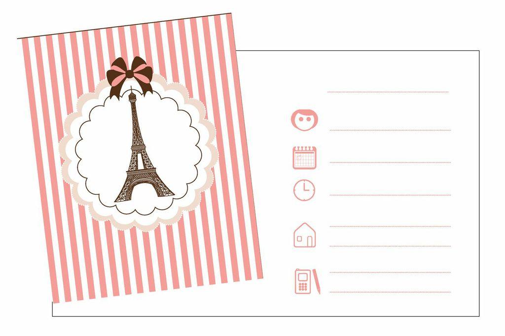 Favori 8 Cartes d'invitation avec enveloppes Tour Eiffel Parisienne  NB93