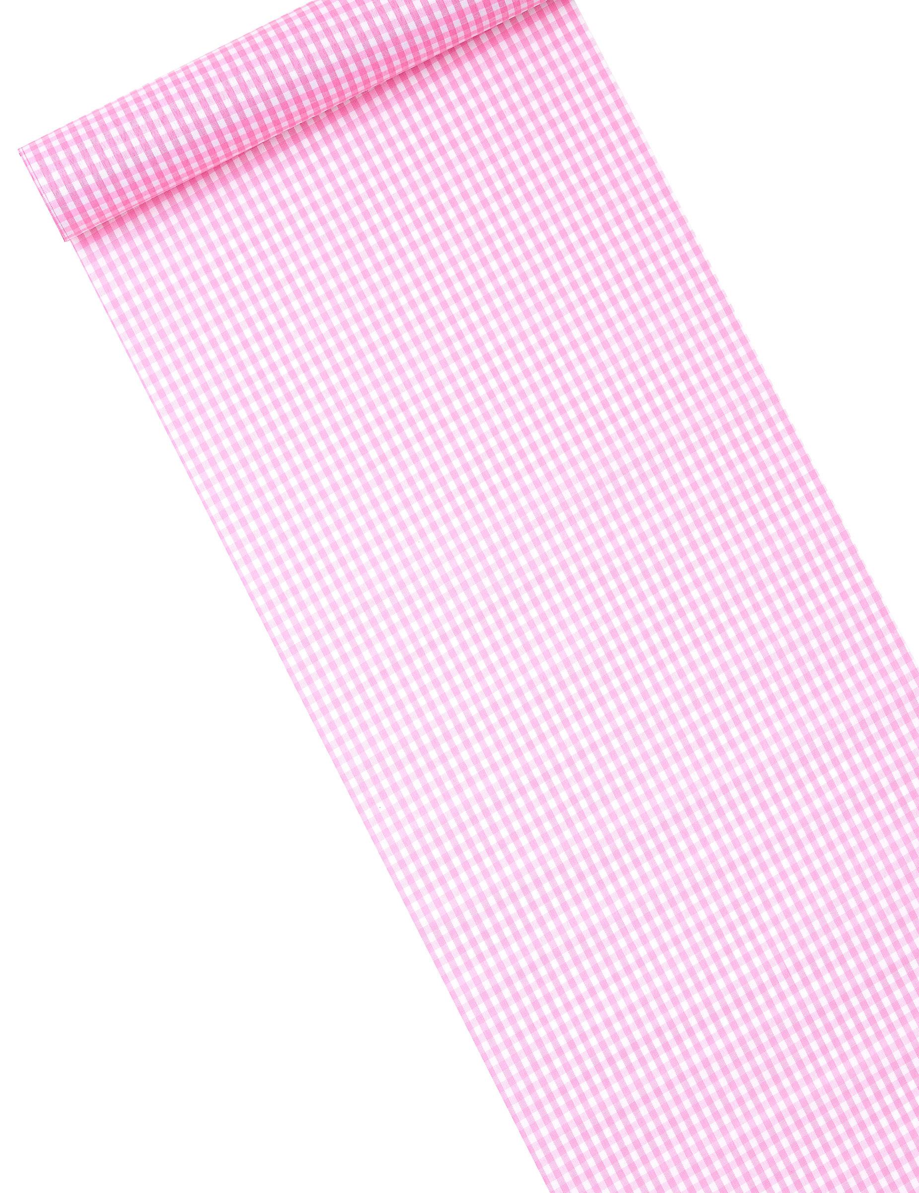 Chemin de table tissu vichy rose 5m d coration for Chemin de table personnalise