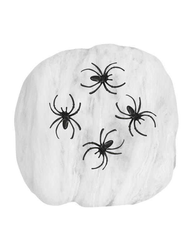 Fausse toile d 39 araign e blanche 50g halloween d coration for Toile d araignee decoration