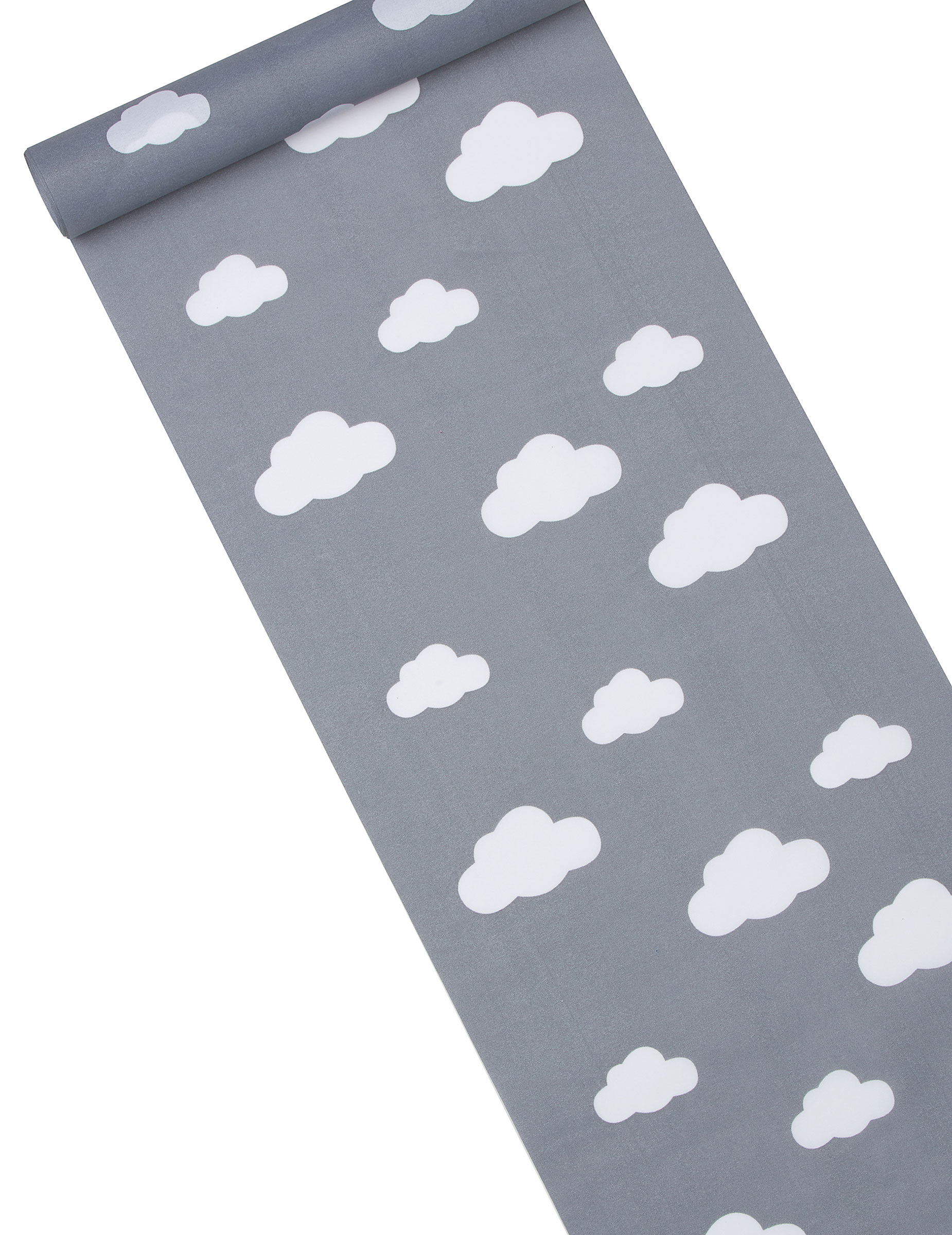 chemin table tissu gris imprim nuages 28 cm x 5 m. Black Bedroom Furniture Sets. Home Design Ideas