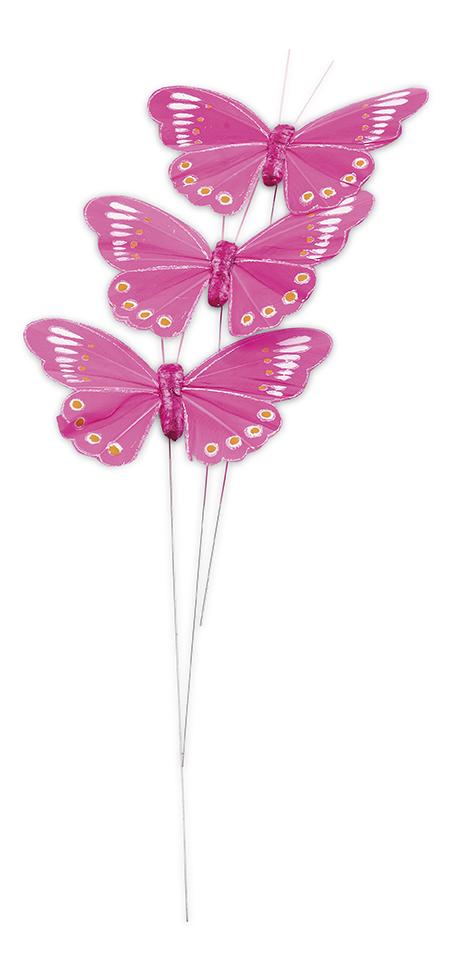 3 papillons fuchsia sur tige d coration anniversaire et f tes th me sur vegaoo party - Papillon sur tige ...