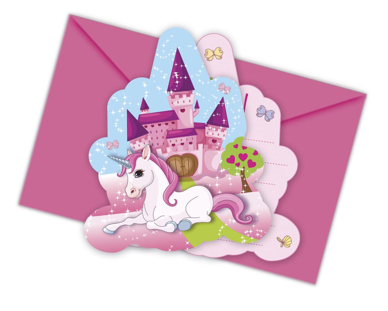 6 Cartes invitations Licorne, décoration anniversaire et ...