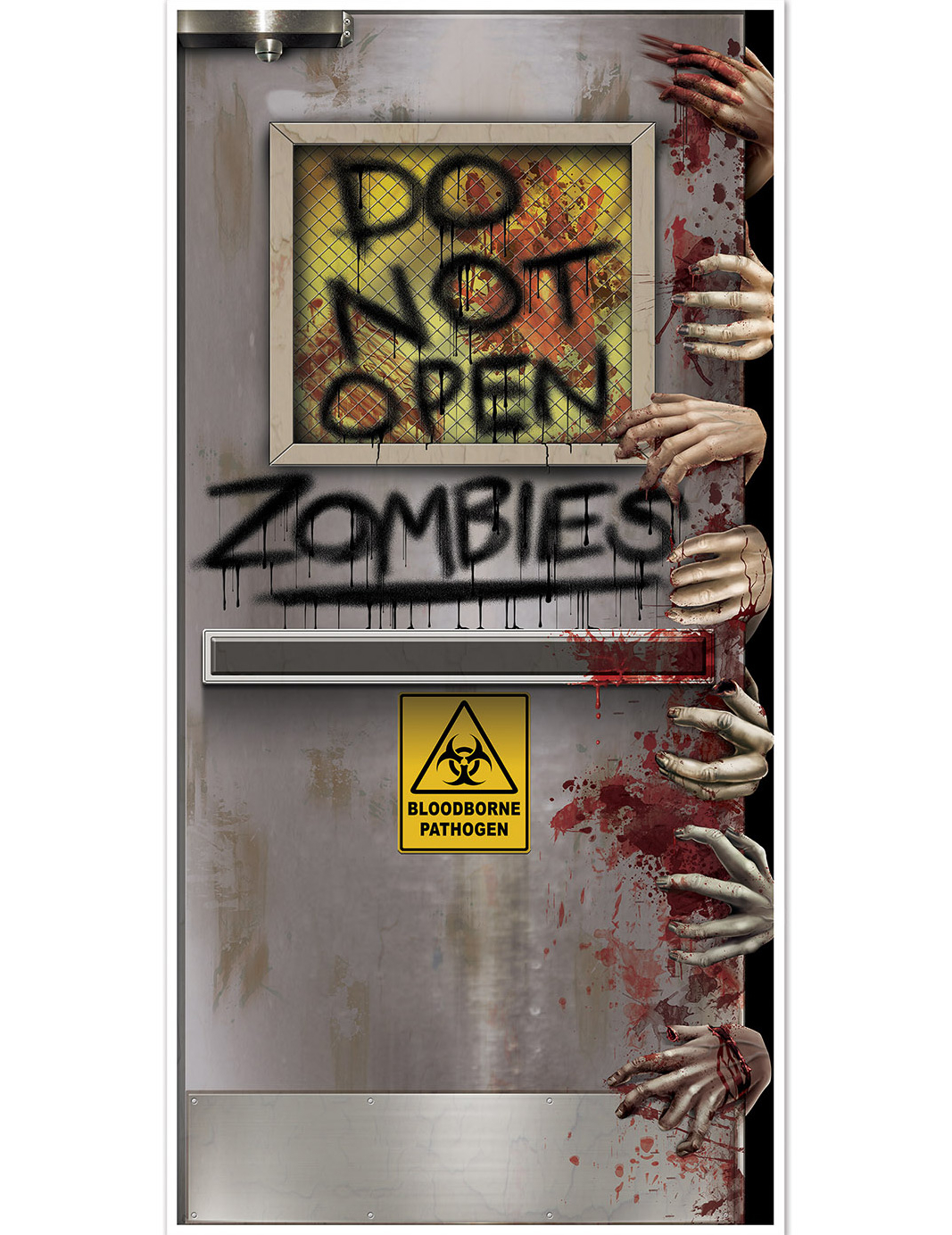 D coration de porte laboratoire zombie halloween for Idee decoration porte halloween
