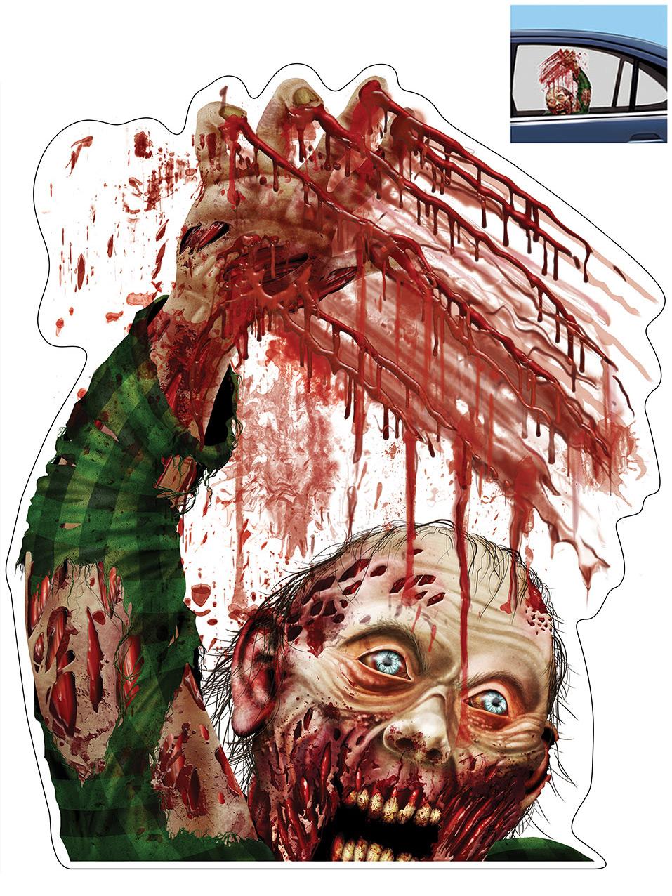 D coration zombie pour fen tre de voiture halloween for Decoration fenetre pour halloween