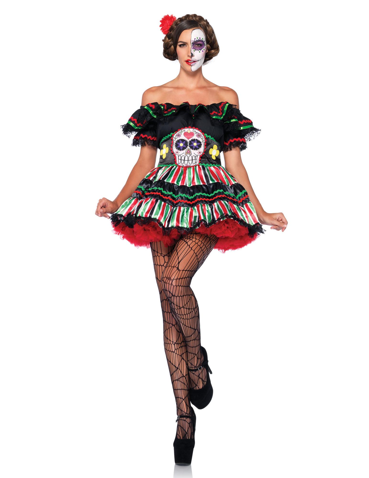 Souvent Déguisement squelette mexicaine colorée femme Dia de los muertos  XU16