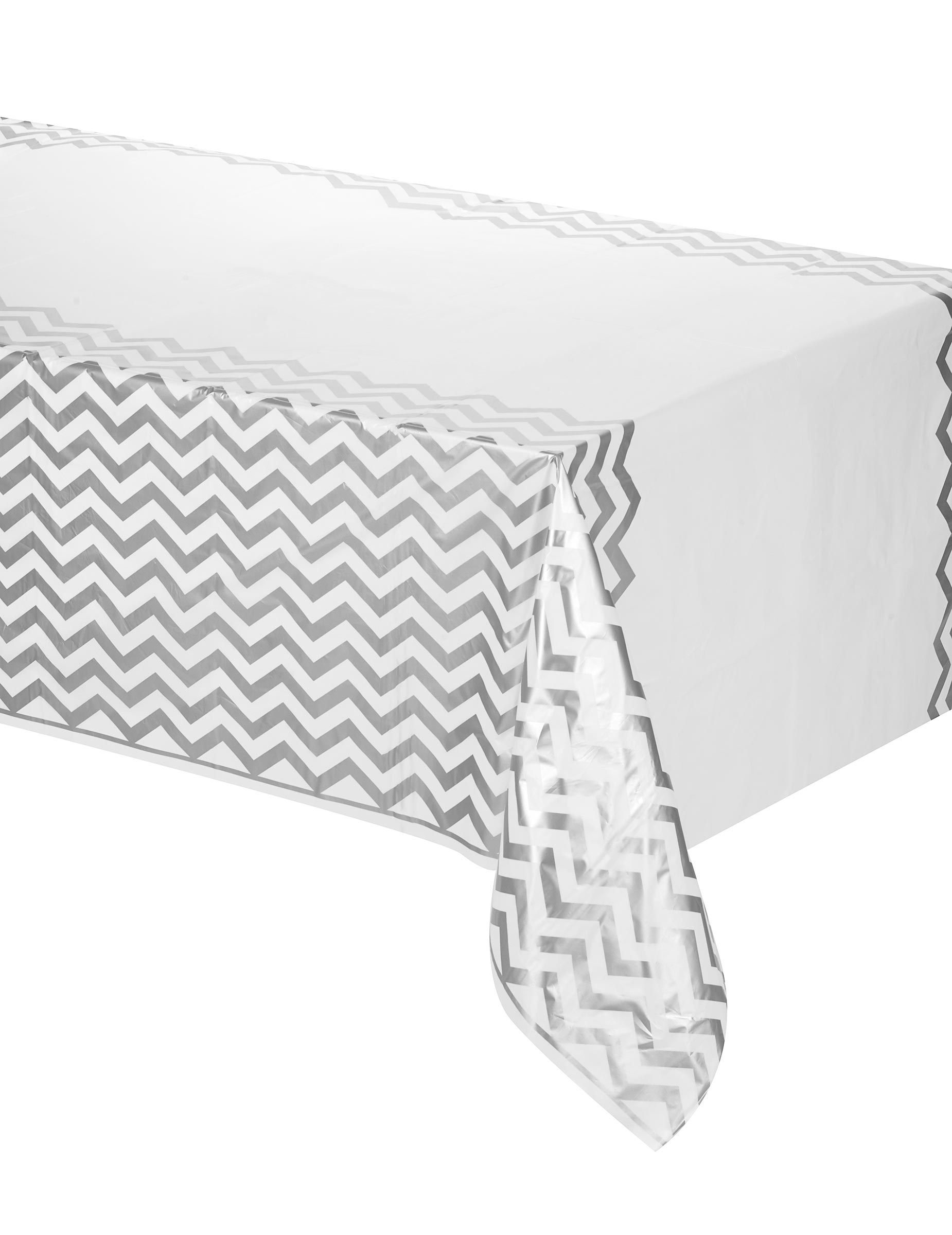 nappe argent e en plastique chevrons 137 x 274 cm d coration anniversaire et f tes th me sur. Black Bedroom Furniture Sets. Home Design Ideas