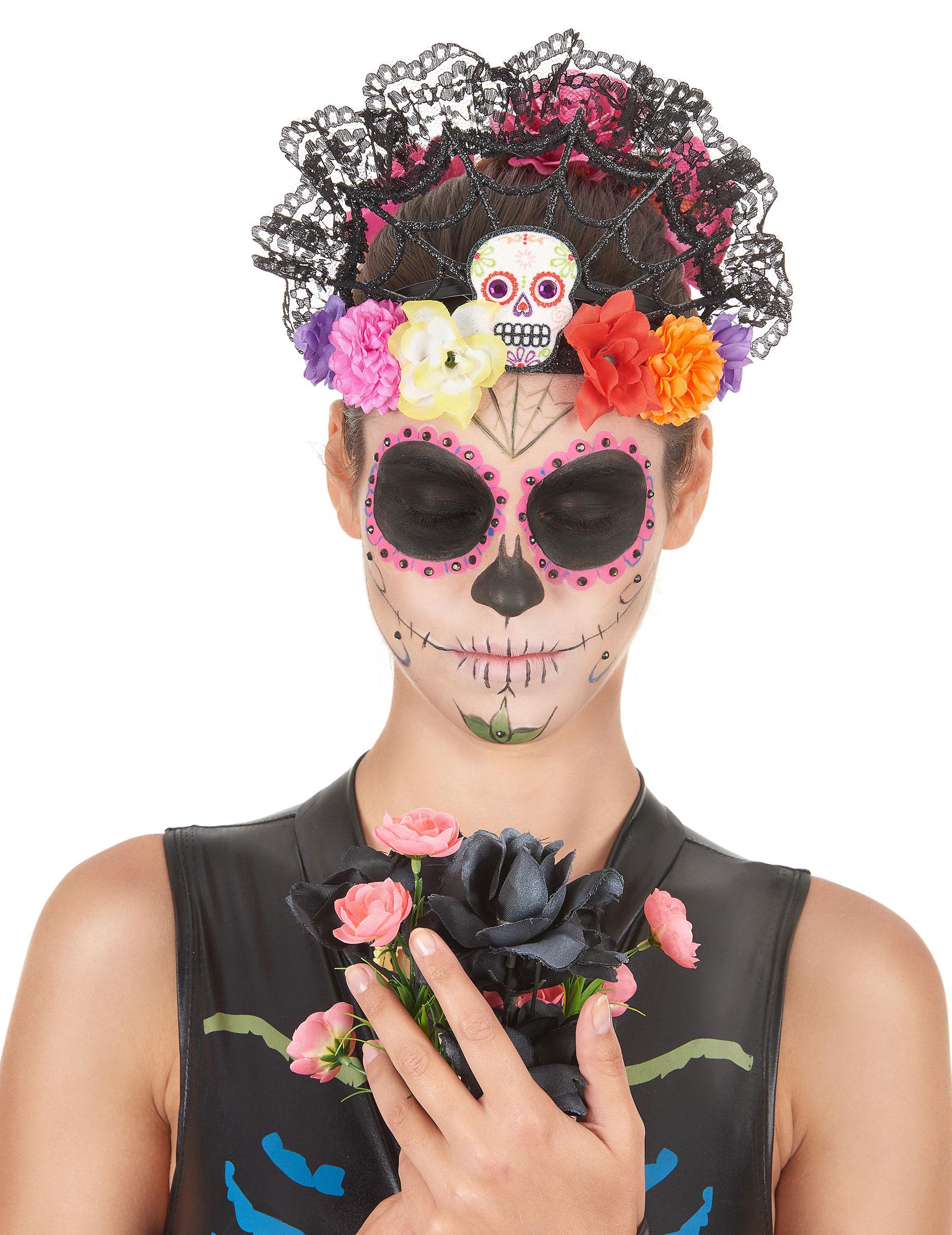 Serre tête tiare fleurs colorées femme dia de los muertos ...