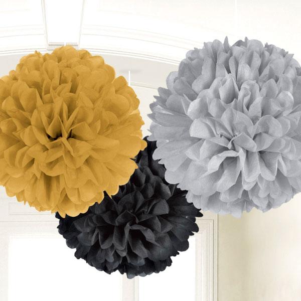 3 pompons en papier suspendre or noir et argent d coration anniversaire et f tes th me sur. Black Bedroom Furniture Sets. Home Design Ideas
