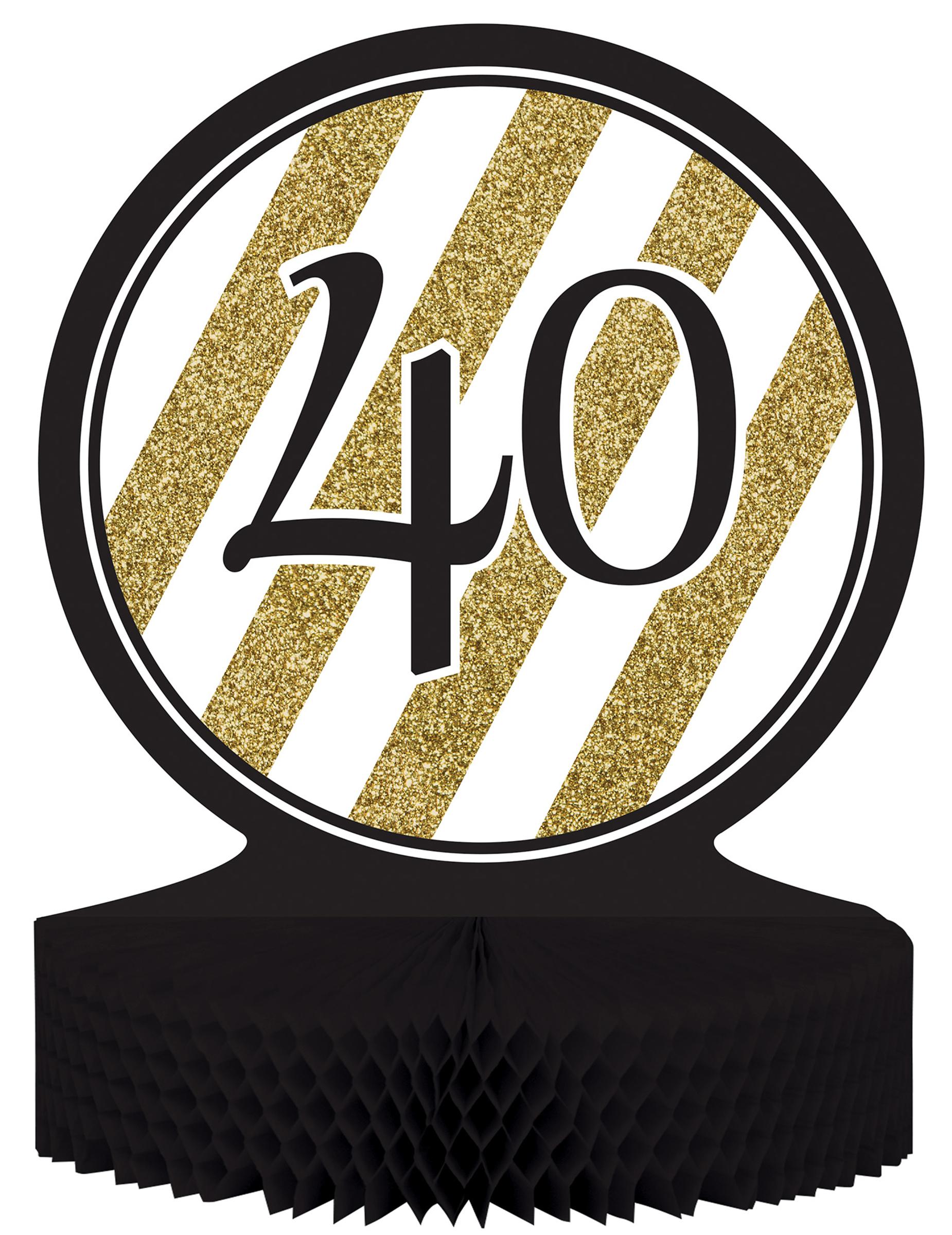Centre de table 40 ans anniversaire noir et or d coration - Decoration de table anniversaire 40 ans ...