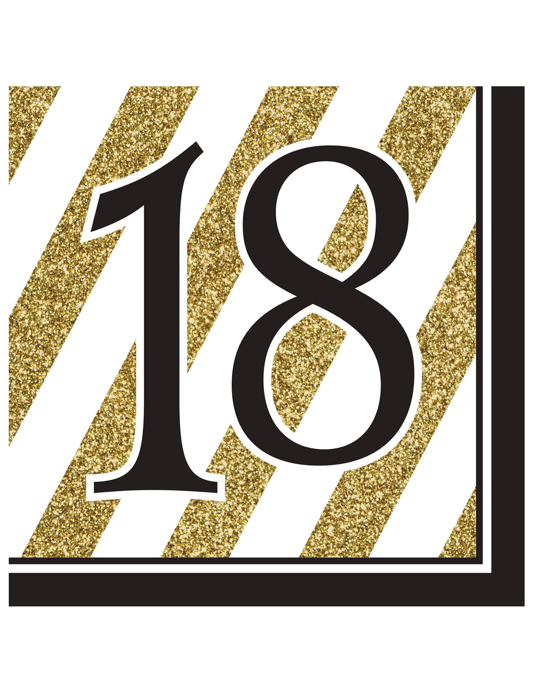 16 serviettes en papier anniversaire 18 ans noir et or 33 x 33 cm d coration anniversaire et. Black Bedroom Furniture Sets. Home Design Ideas