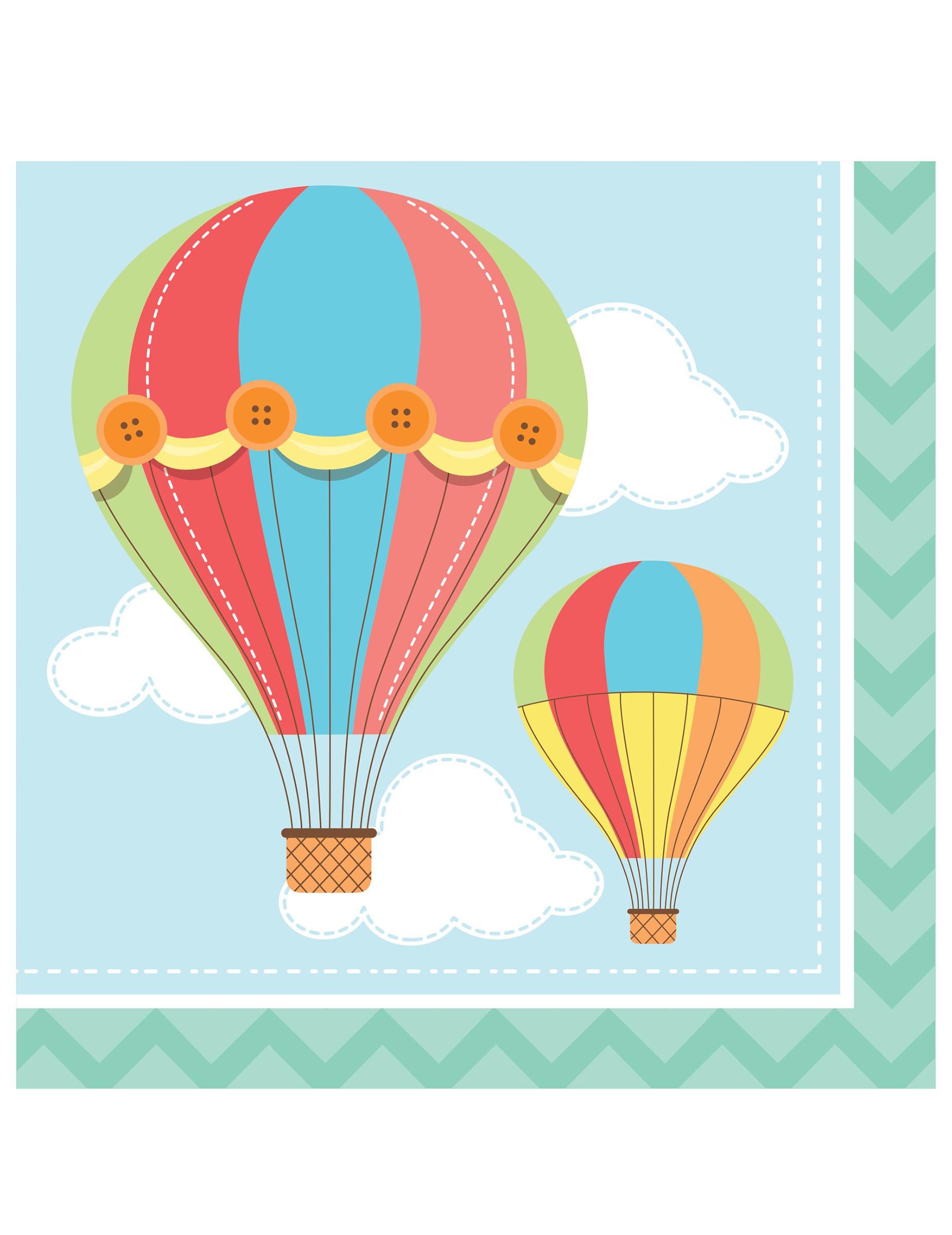 16 serviettes en papier petite montgolfi re 33 x 33 xm d coration anniversaire et f tes th me - Montgolfiere en papier ...