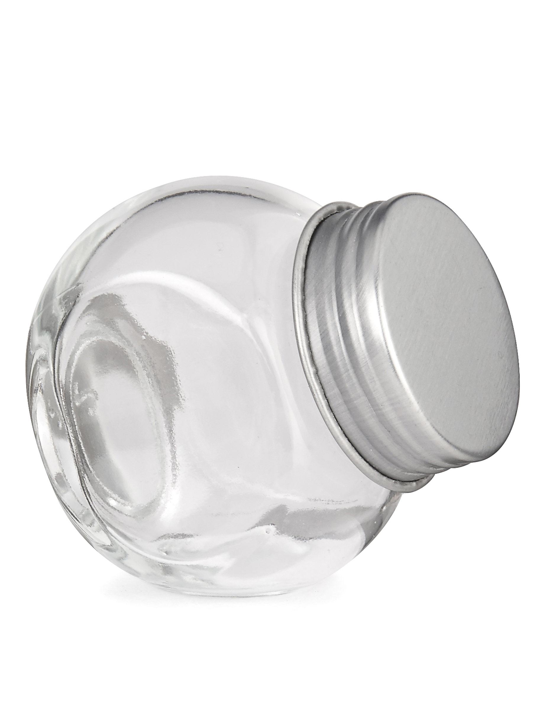 petit pot en verre avec couvercle en acier 5 x 5 5 cm. Black Bedroom Furniture Sets. Home Design Ideas