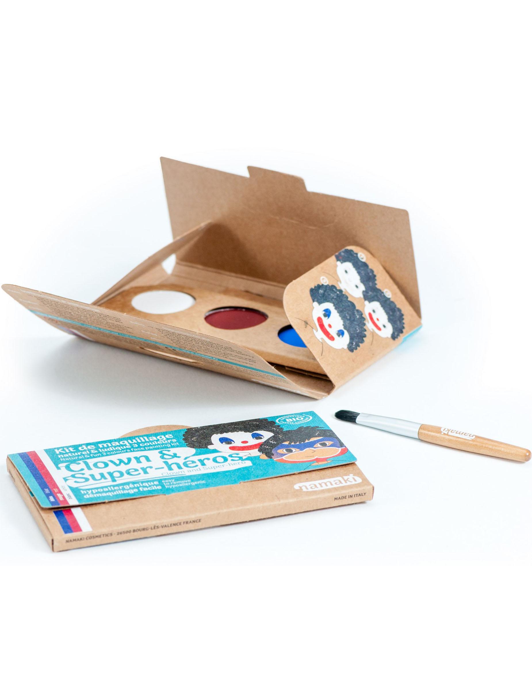 Kit maquillage 3 couleurs clown super h ros bio namaki - Kit anniversaire super heros ...