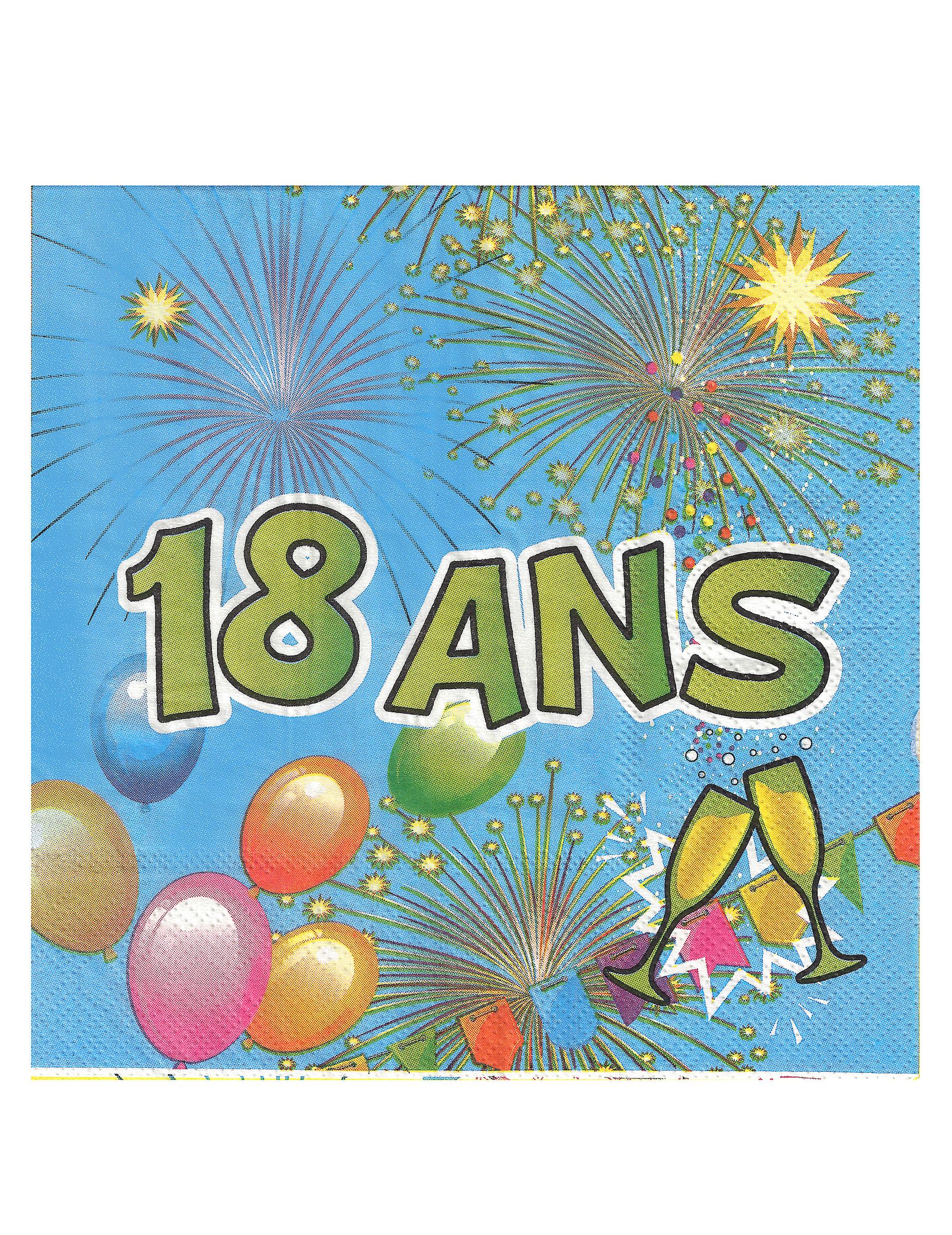 20 serviettes en papier 18 ans anniversaire fiesta 33 cm d coration anniversaire et f tes. Black Bedroom Furniture Sets. Home Design Ideas