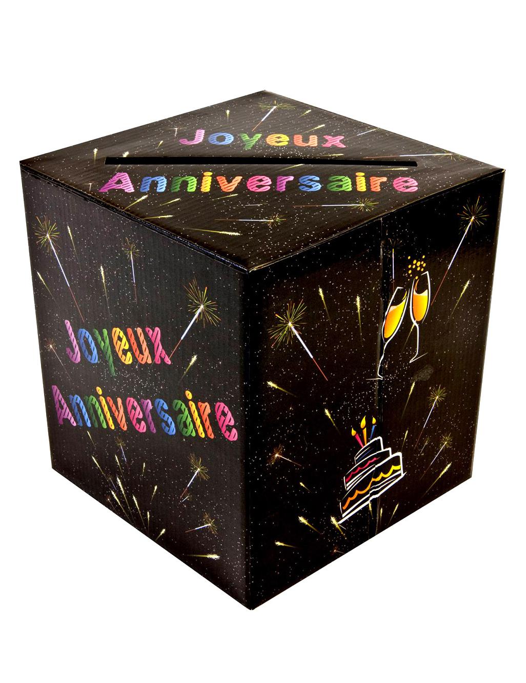 Tirelire urne joyeux anniversaire chic d coration - Decorer boite carton pour anniversaire ...