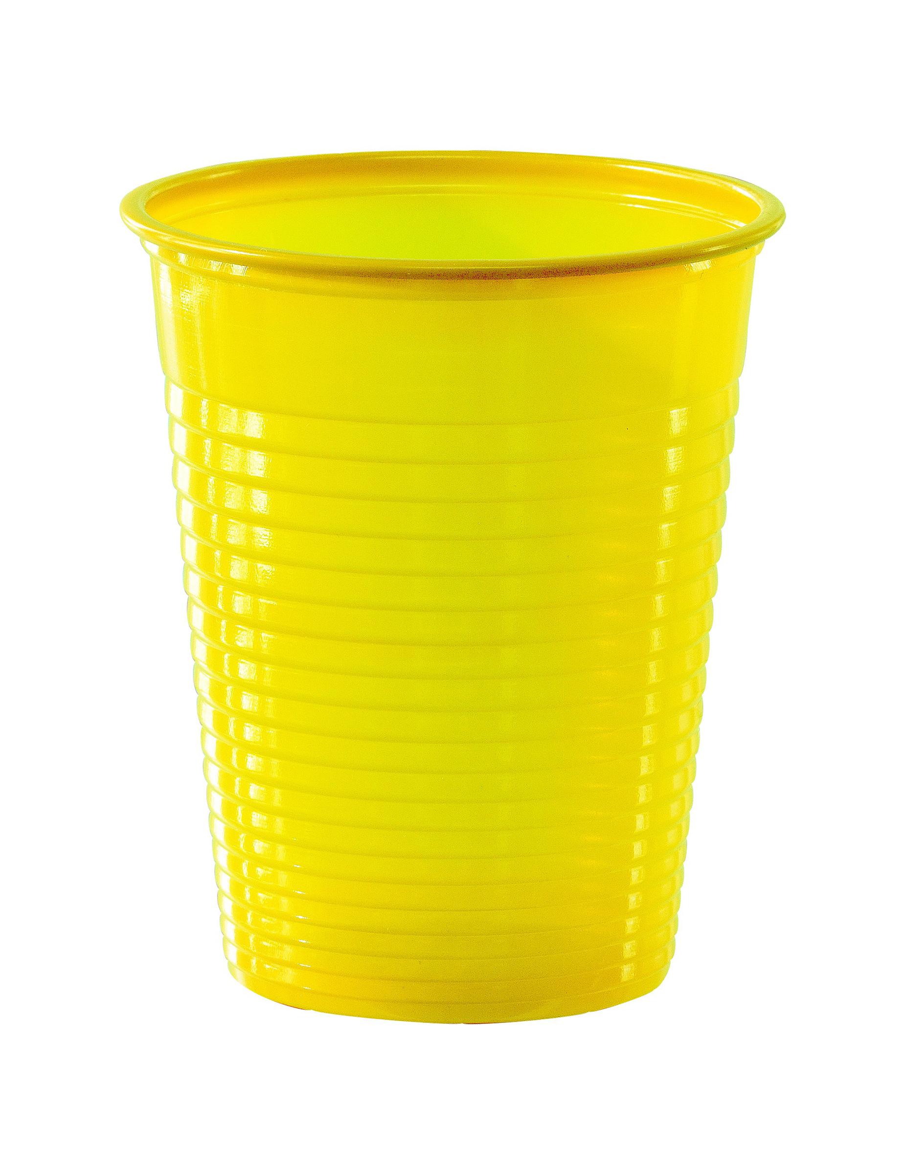50 gobelets en plastique jaune 20 cl d coration anniversaire et f tes th me sur vegaoo party - Decoration gobelet plastique ...