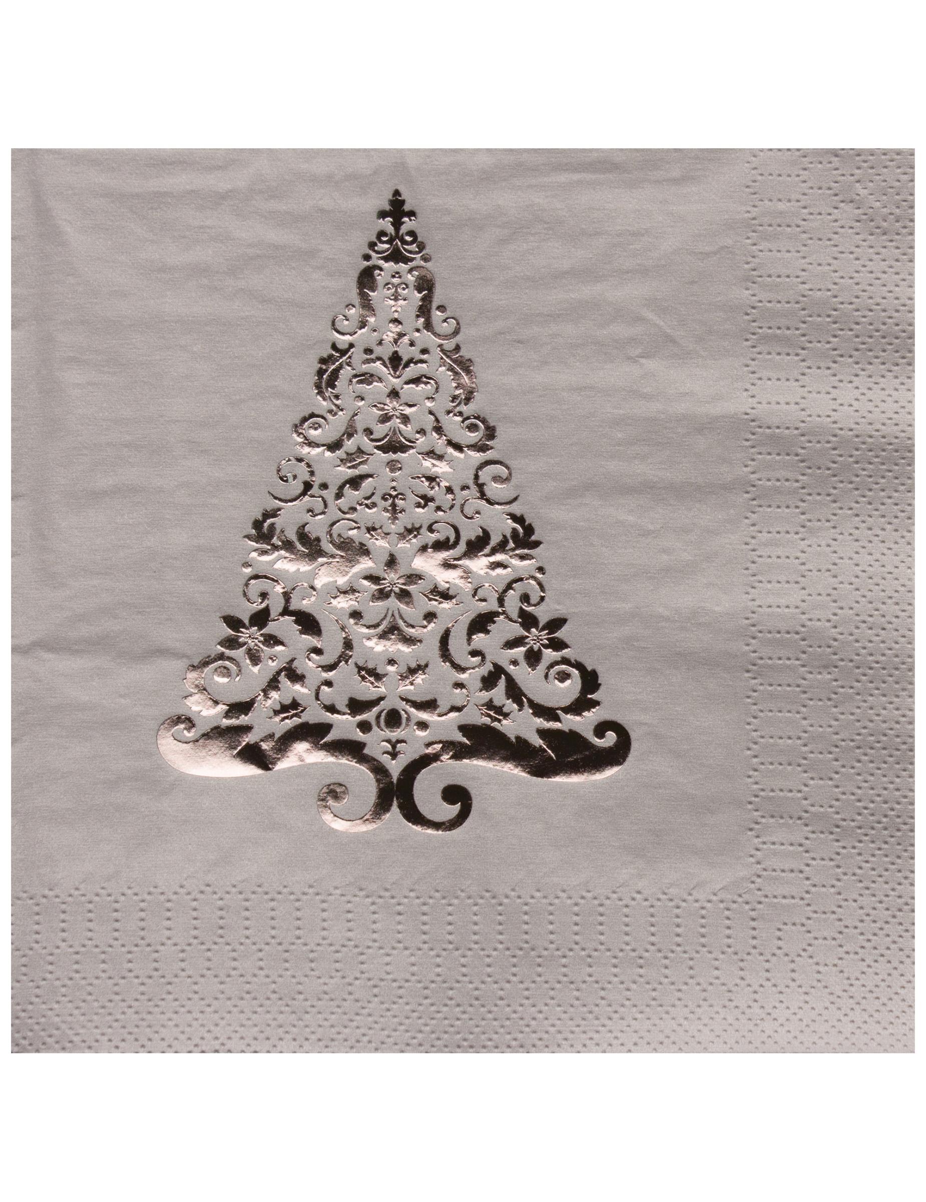 16 serviettes en papier sapin argent 33 x 33 cm - Sapin en serviette en papier ...