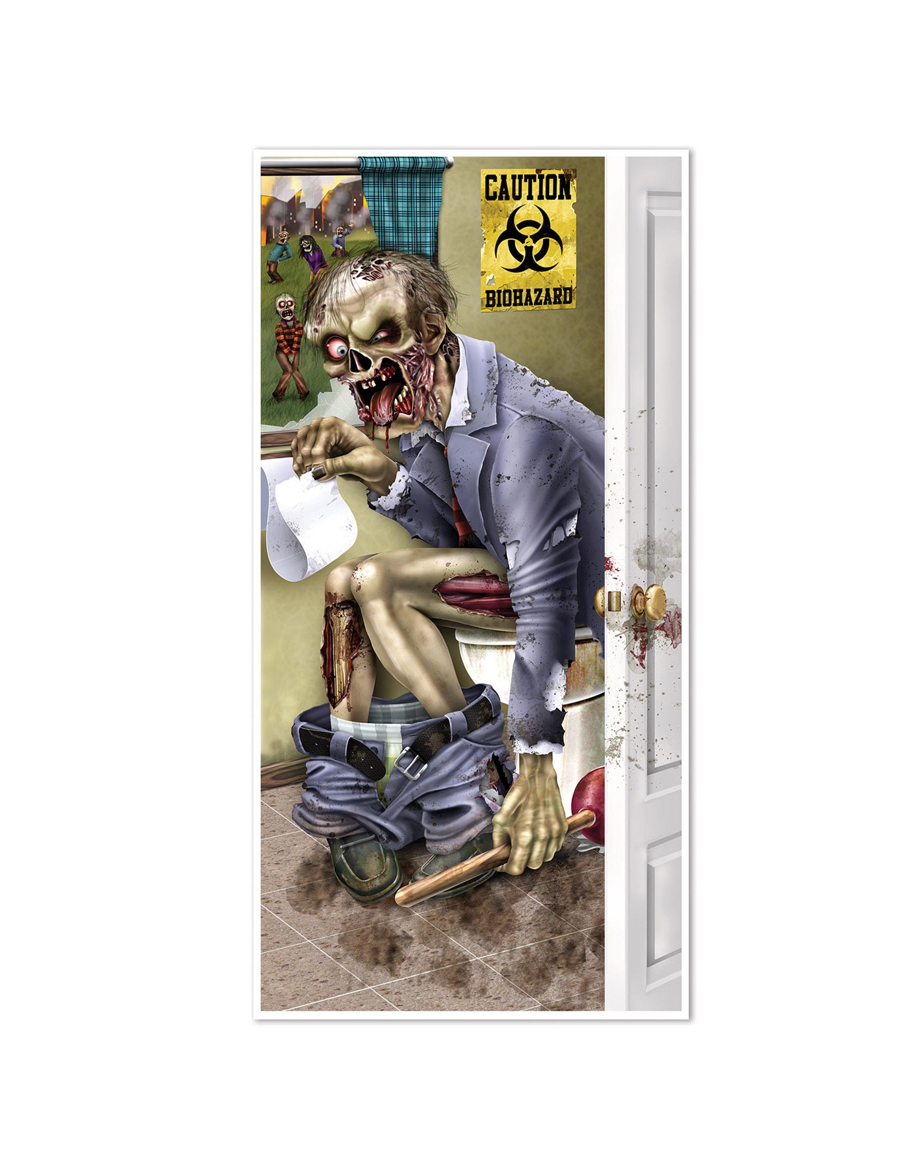 d coration de porte zombie aux toilettes halloween d coration anniversaire et f tes th me sur. Black Bedroom Furniture Sets. Home Design Ideas