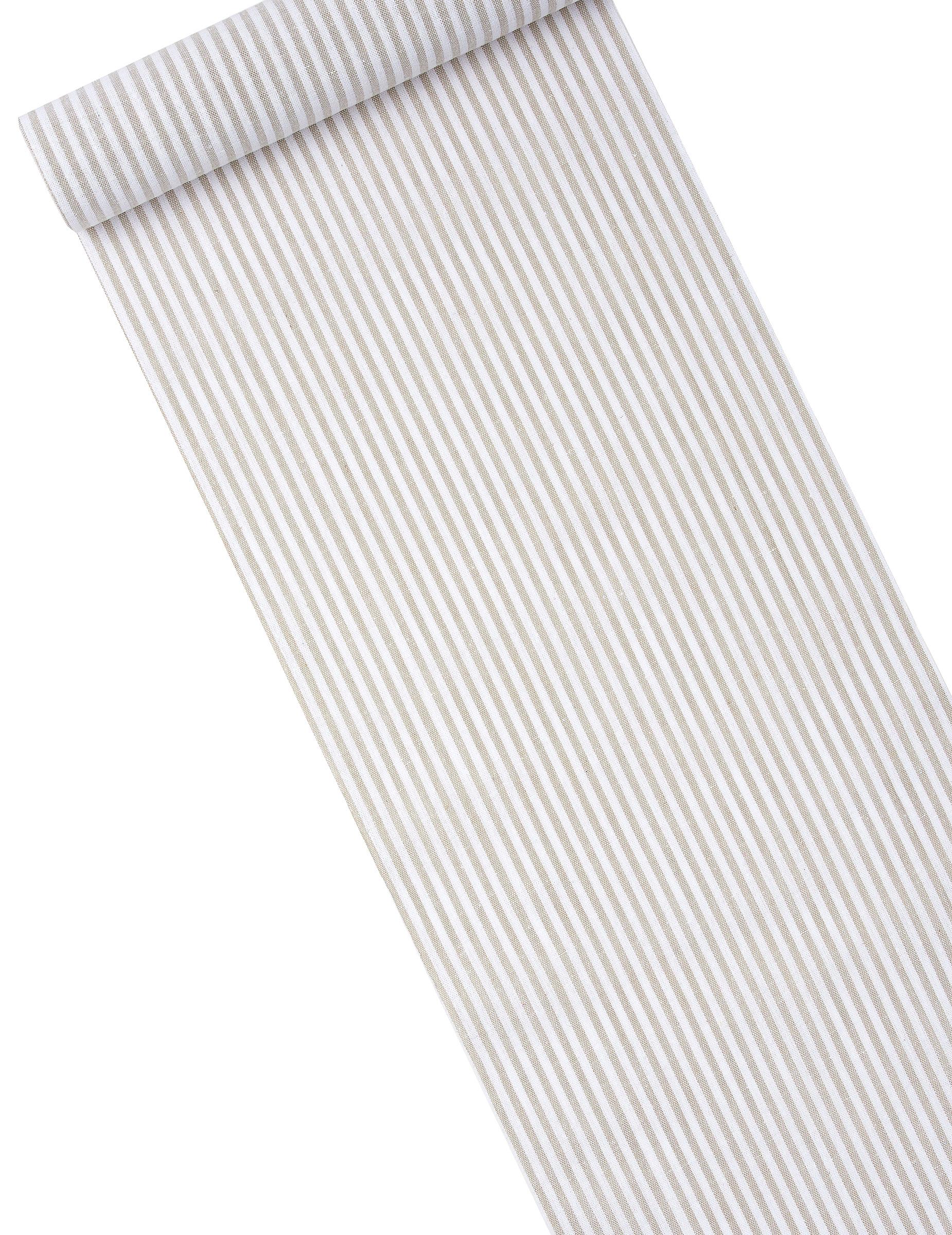 Chemin de table lin ray taupe et blanc 28 cm x 5 m tres d coration anniversaire et f tes - Chemin de table taupe ...