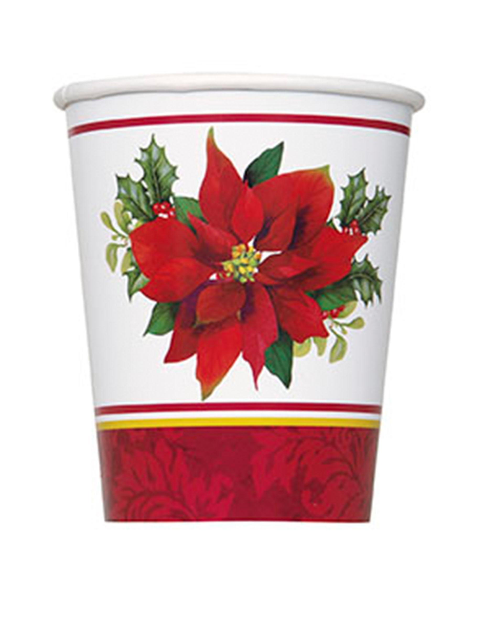 8 gobelets en carton fleurs de no l d coration anniversaire et f tes th me sur vegaoo party - Fleur en carton ...