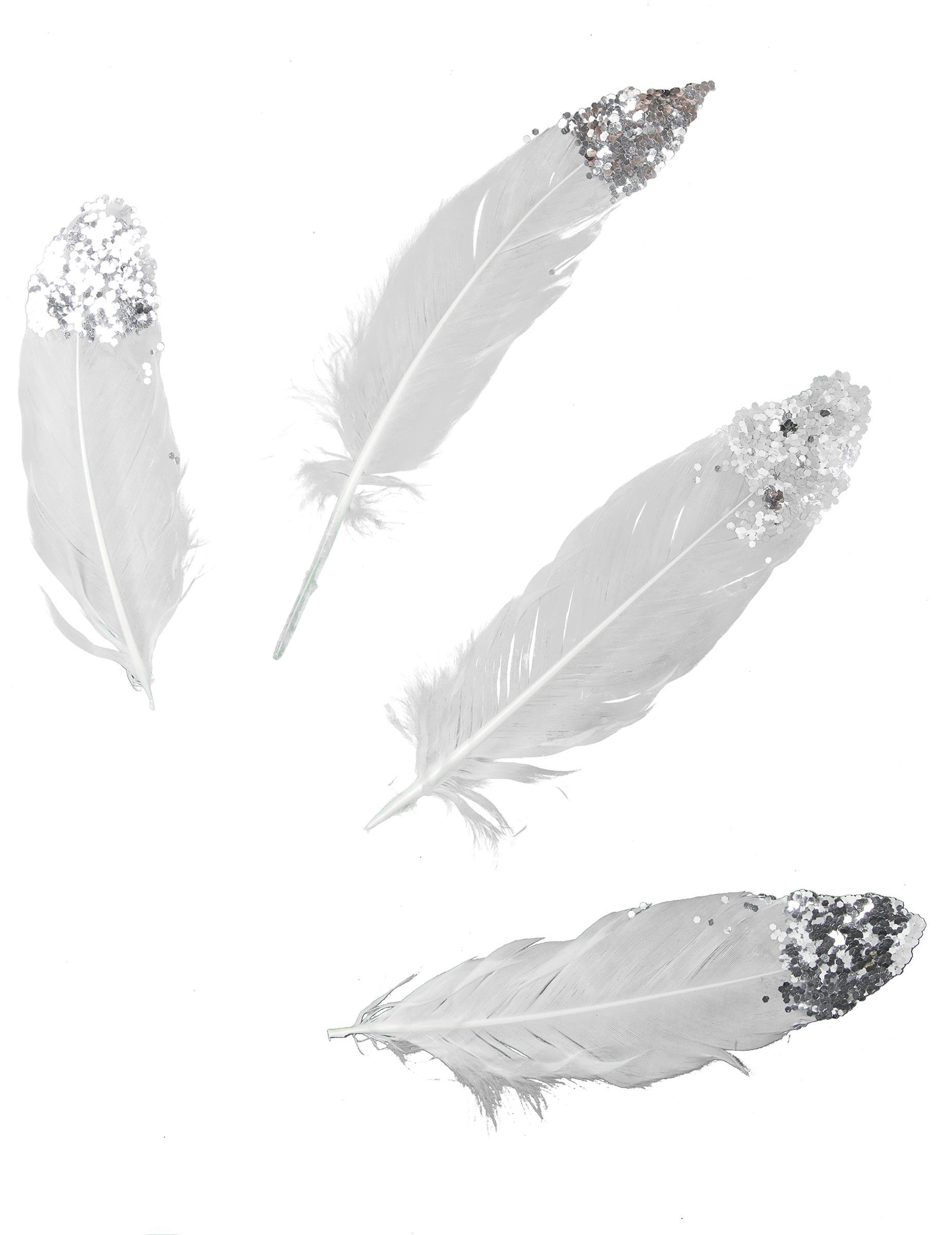 6 plumes blanches paillettes argent es 16 cm d coration anniversaire et f tes th me sur. Black Bedroom Furniture Sets. Home Design Ideas