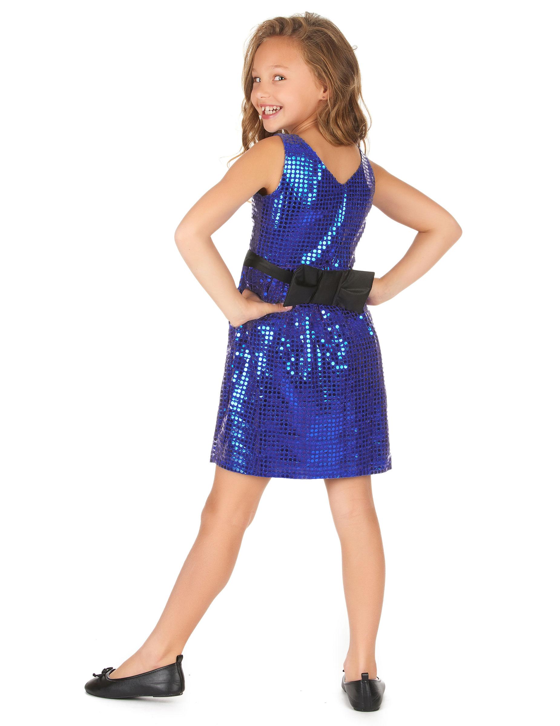 d guisement robe disco bleue paillette avec gros noeud fille d coration anniversaire et f tes. Black Bedroom Furniture Sets. Home Design Ideas