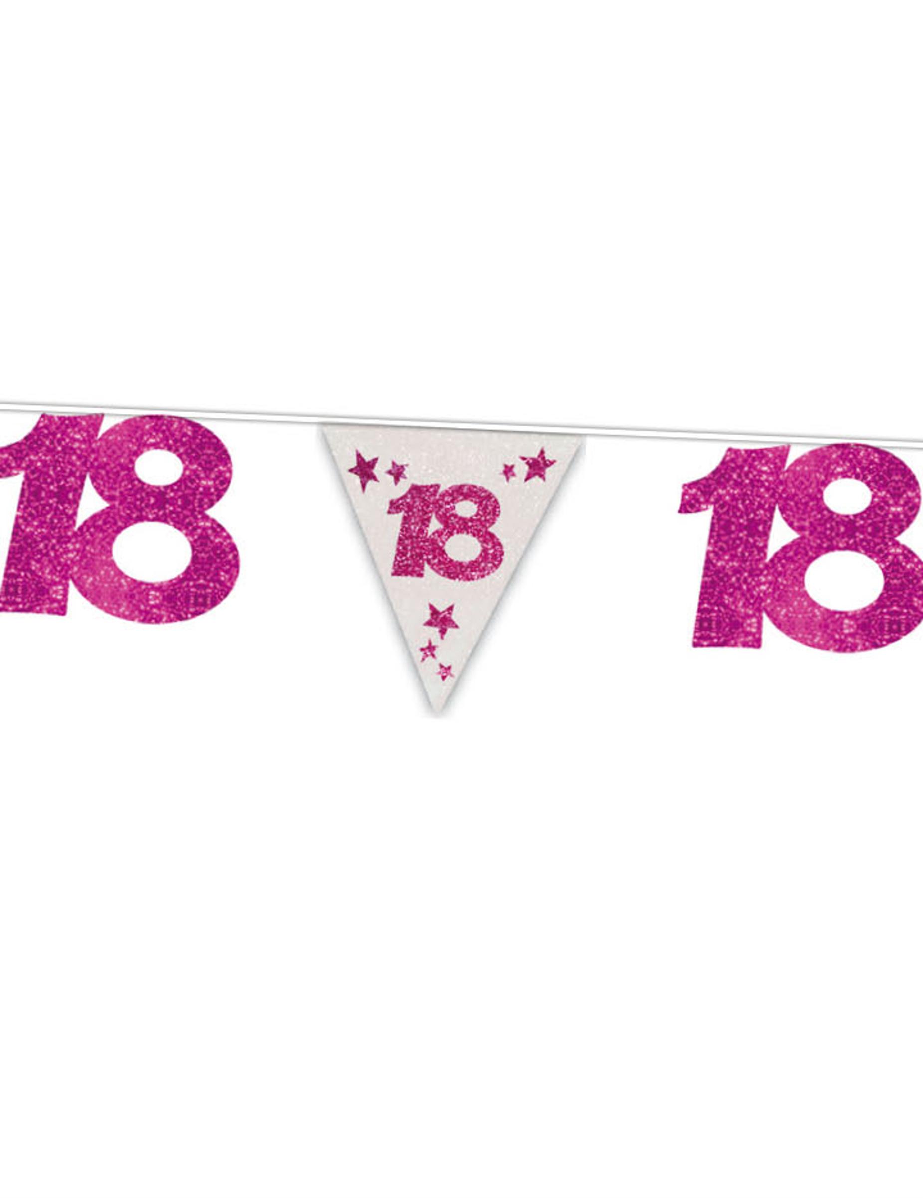 Gurilande fanions anniversaire 18 ans rose d coration for Decoration 18 ans fille