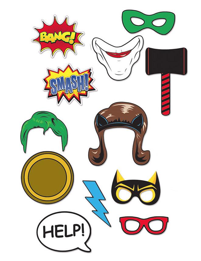 Kit photobooth 12 pi ces super h ros d coration - Kit anniversaire super heros ...